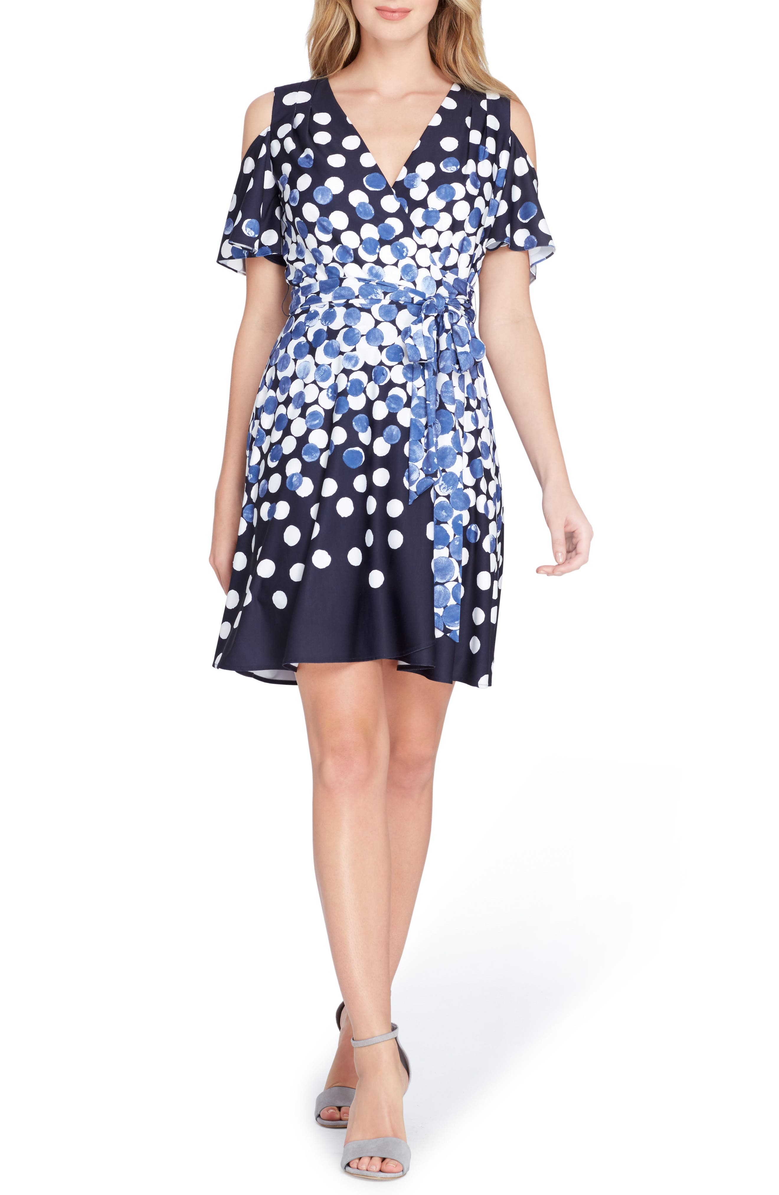 Dot Cold Shoulder Faux Wrap Dress,                             Main thumbnail 1, color,                             497