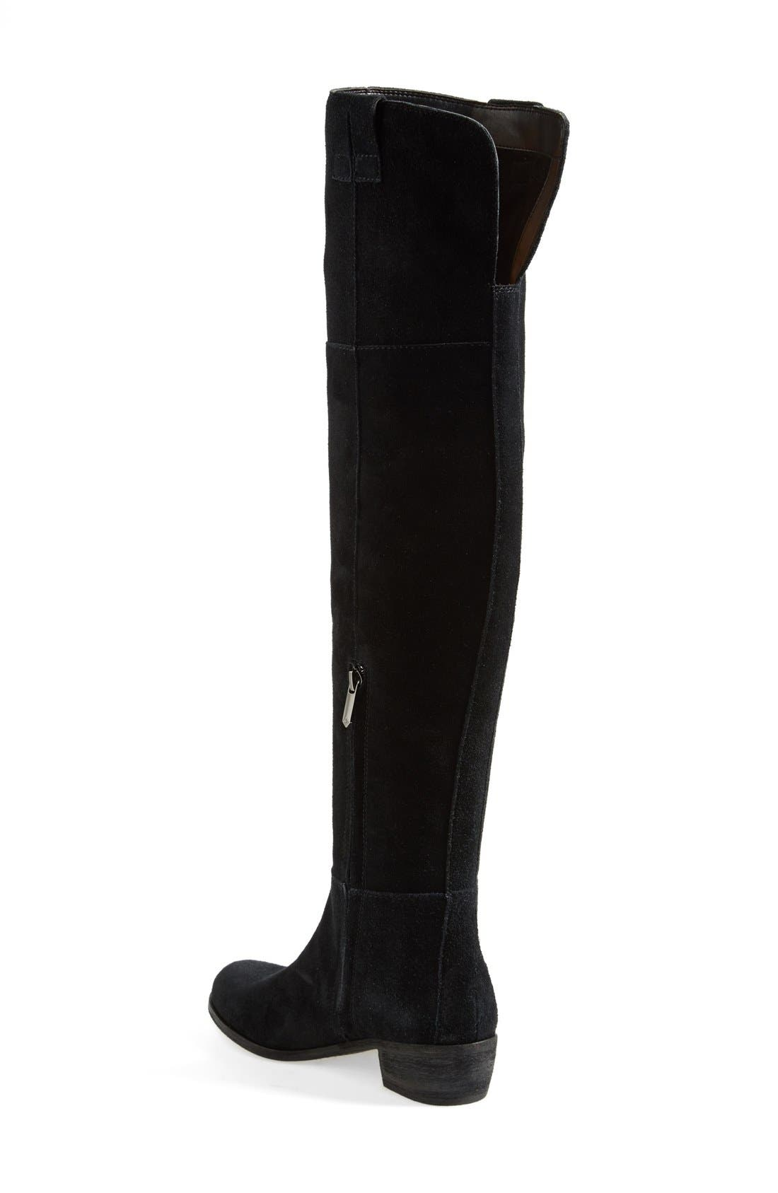 'Johanna' Over the Knee Suede Boot,                             Alternate thumbnail 3, color,                             001