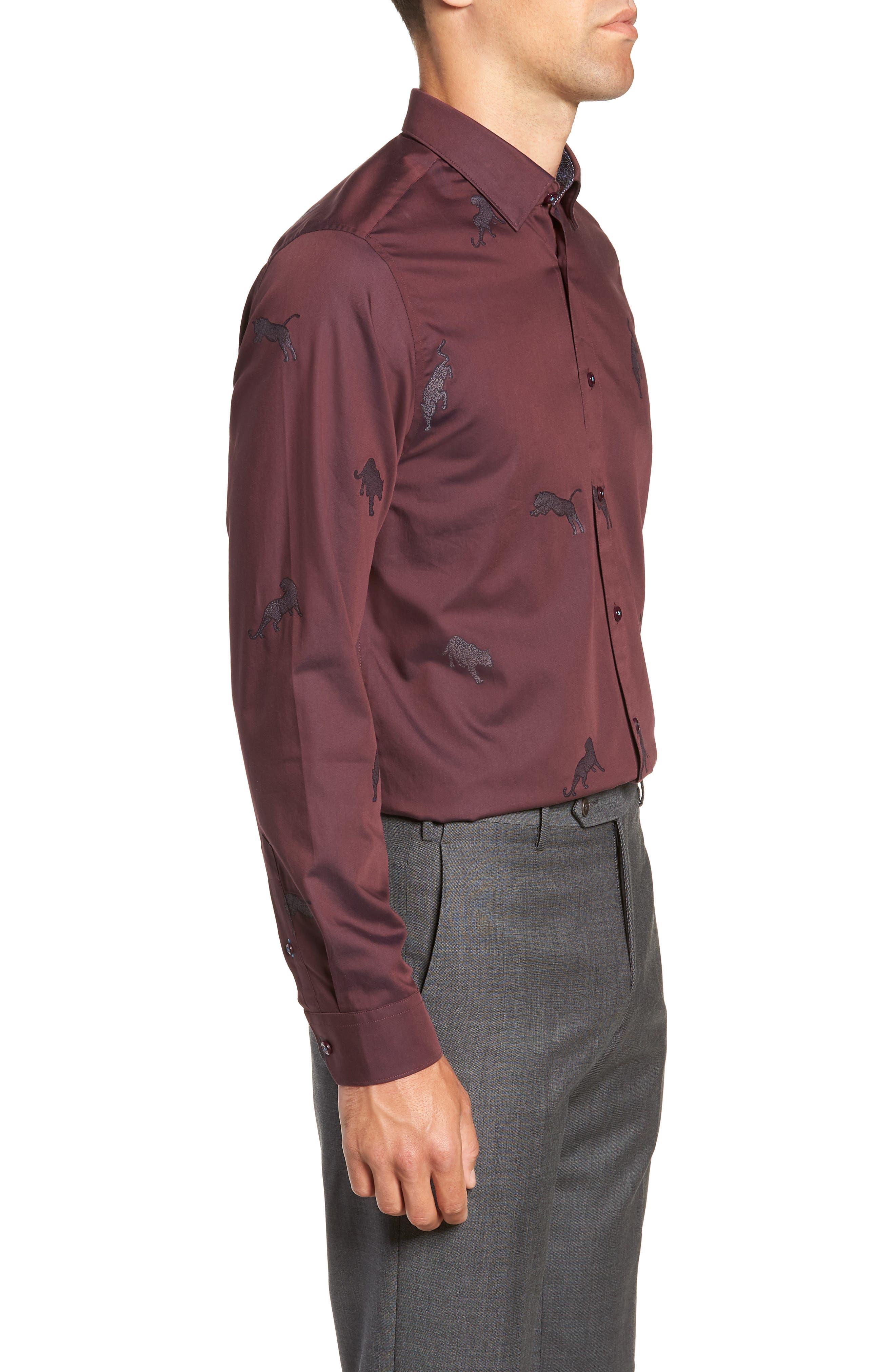 Bean Modern Fit Print Dress Shirt,                             Alternate thumbnail 4, color,                             DARK RED