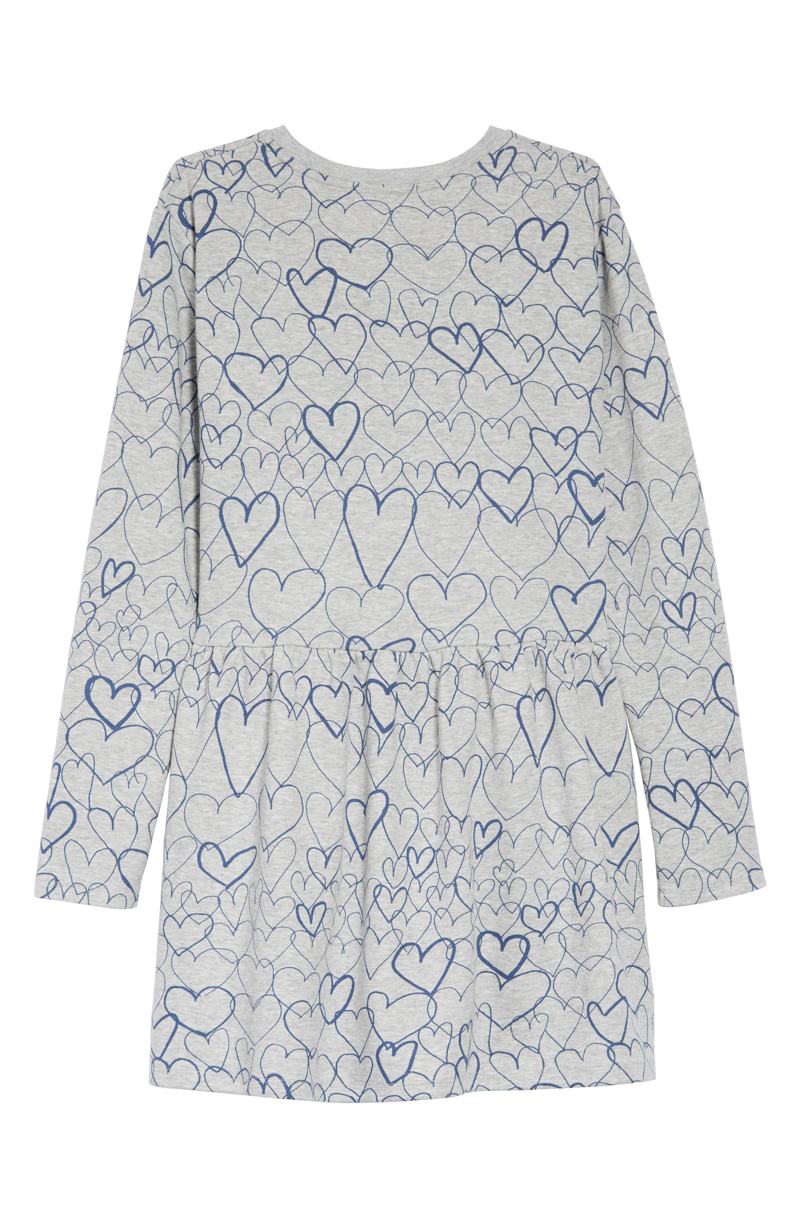 Marion Heart Print Dress,                             Alternate thumbnail 2, color,                             GREY BLUE