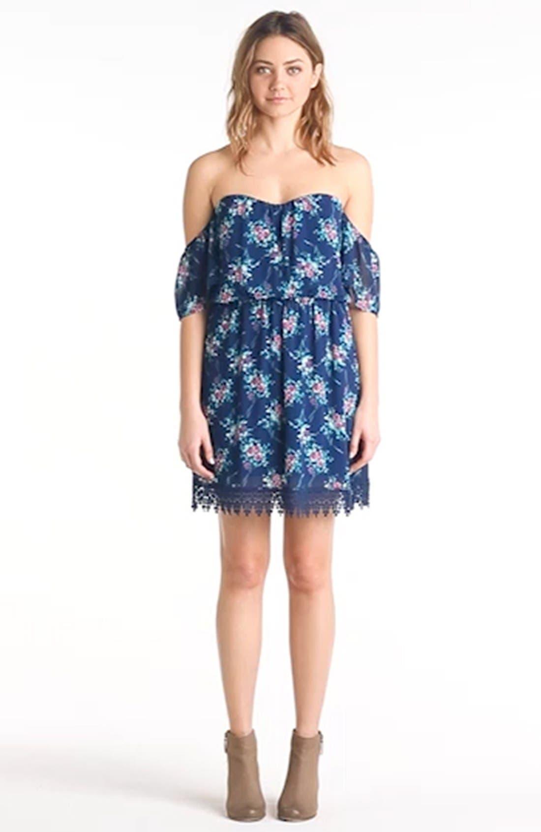 Strapless Crochet Trim Dress,                             Alternate thumbnail 4, color,                             400