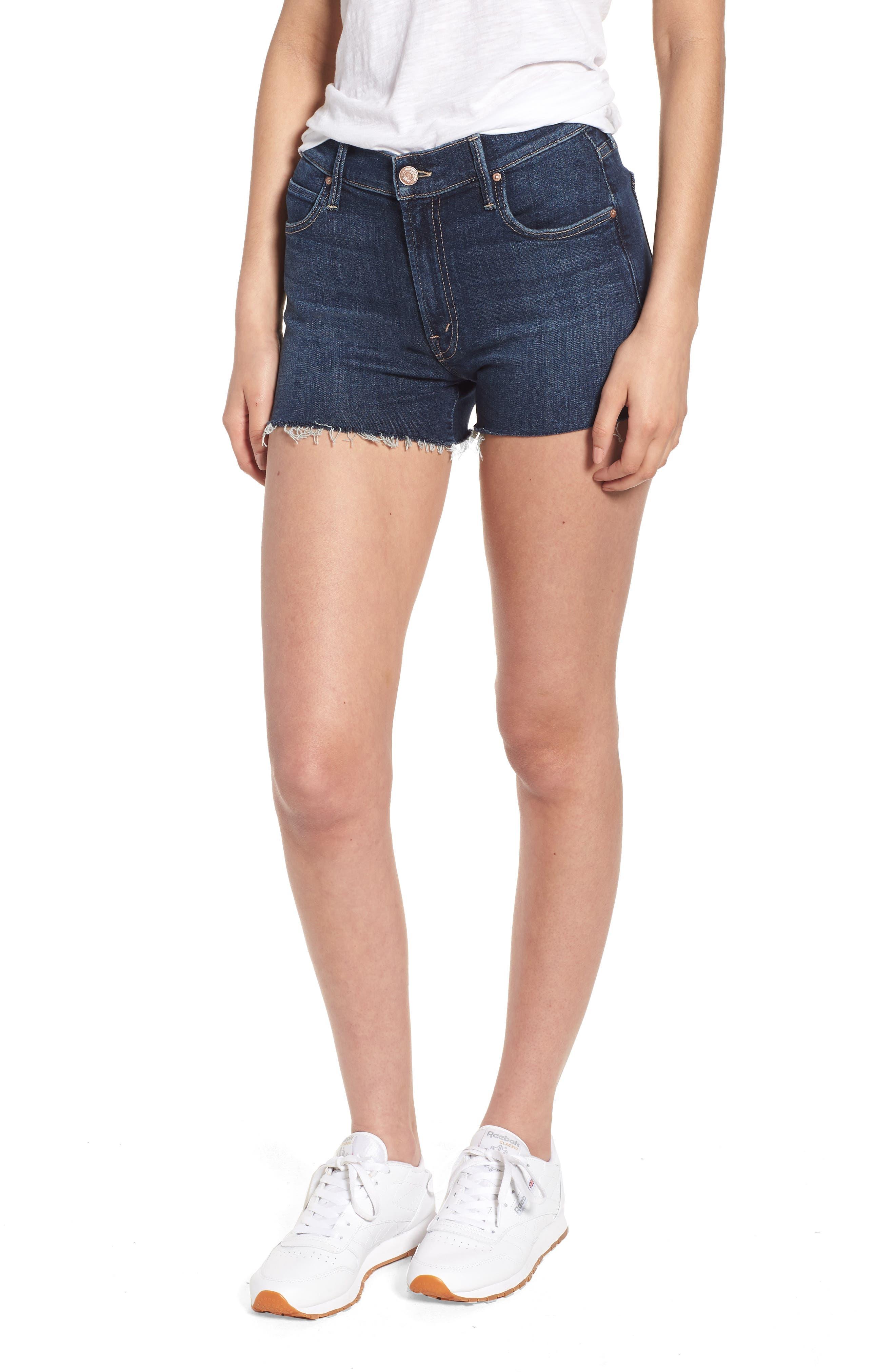 The Charmer Fray Denim Shorts,                         Main,                         color, 417