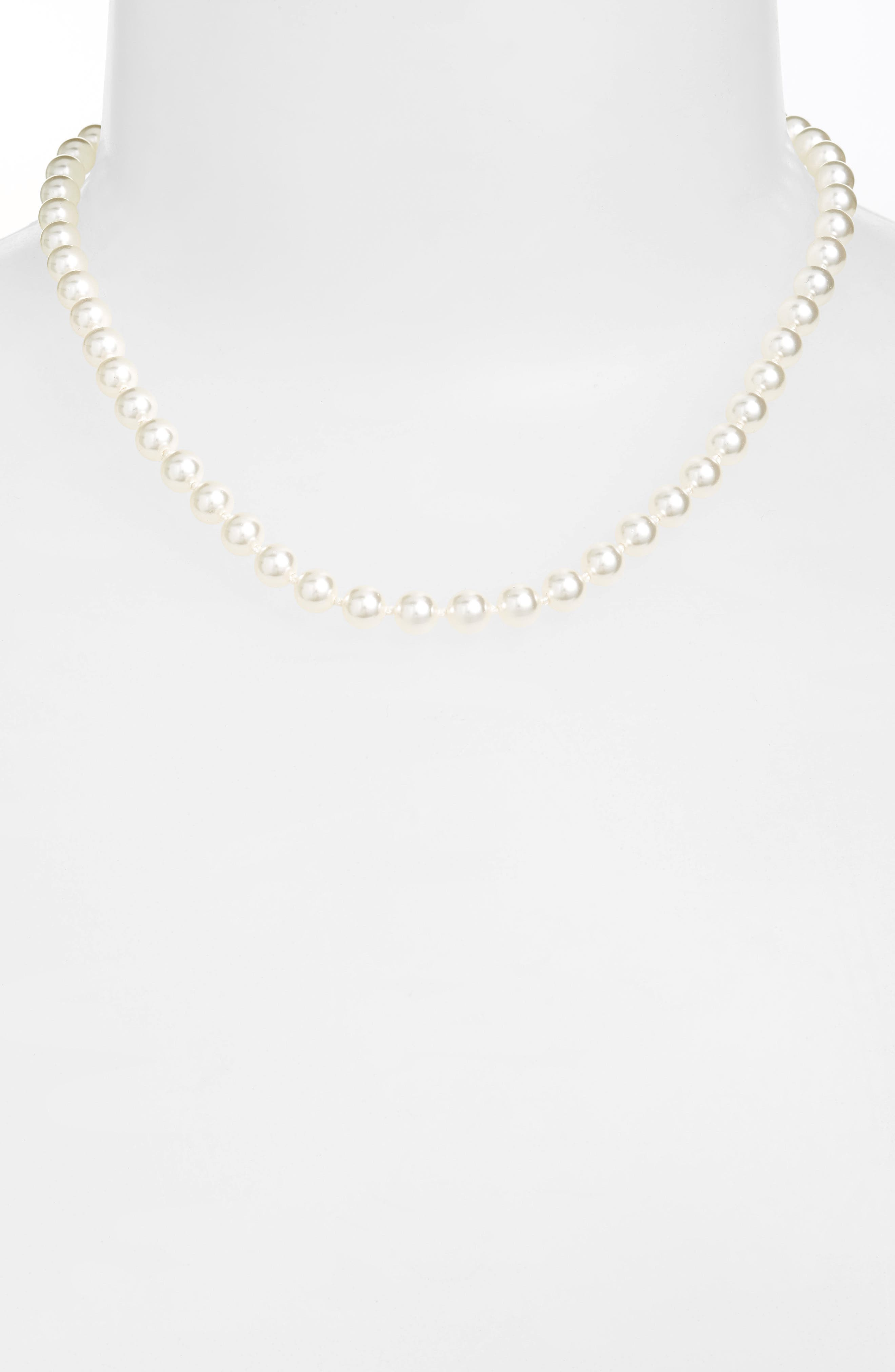 16-Inch Glass Pearl Strand Necklace,                             Main thumbnail 1, color,                             WHITE PEARL