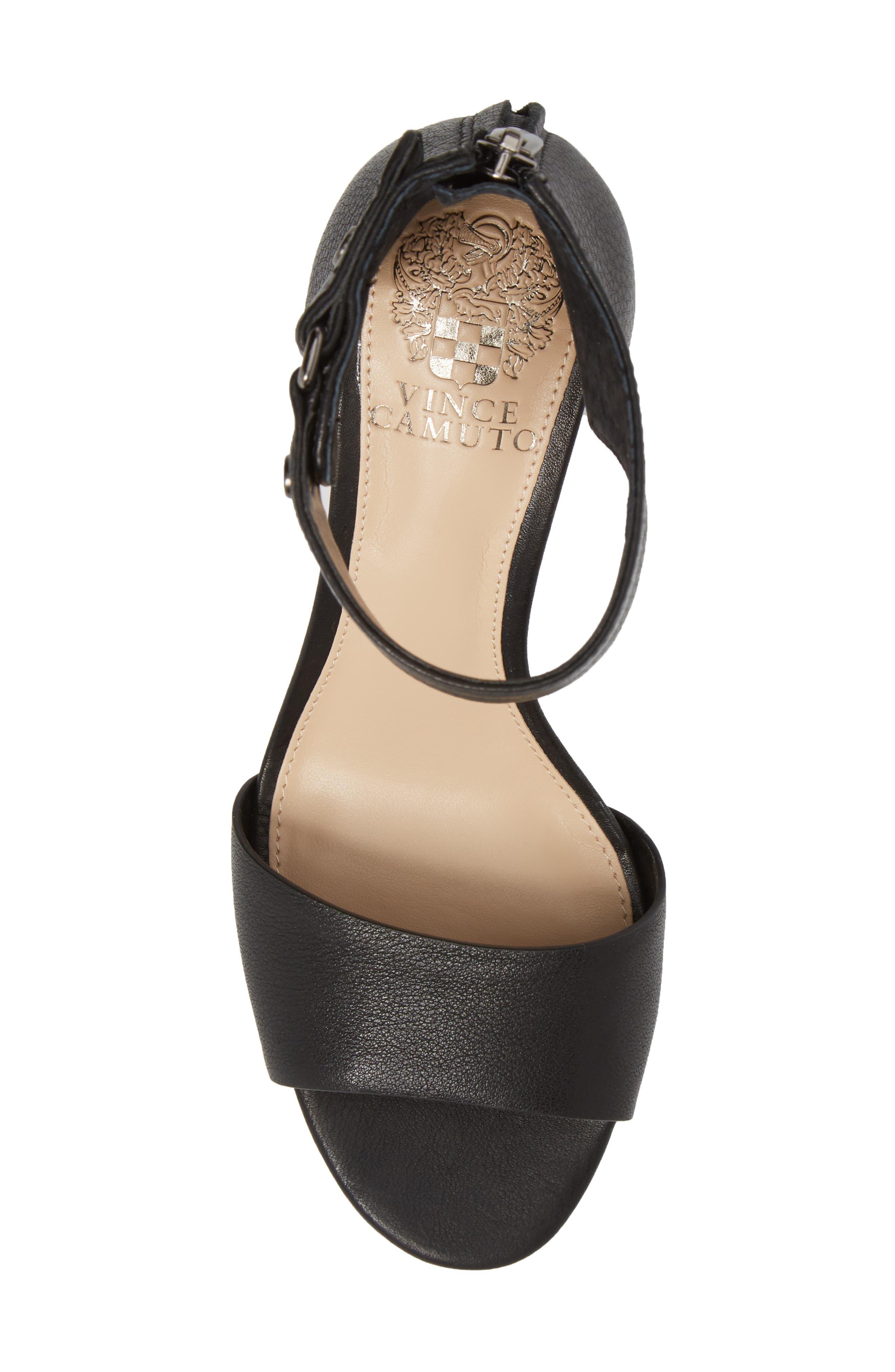 Jannali Ankle Strap Sandal,                             Alternate thumbnail 5, color,                             BLACK LEATHER