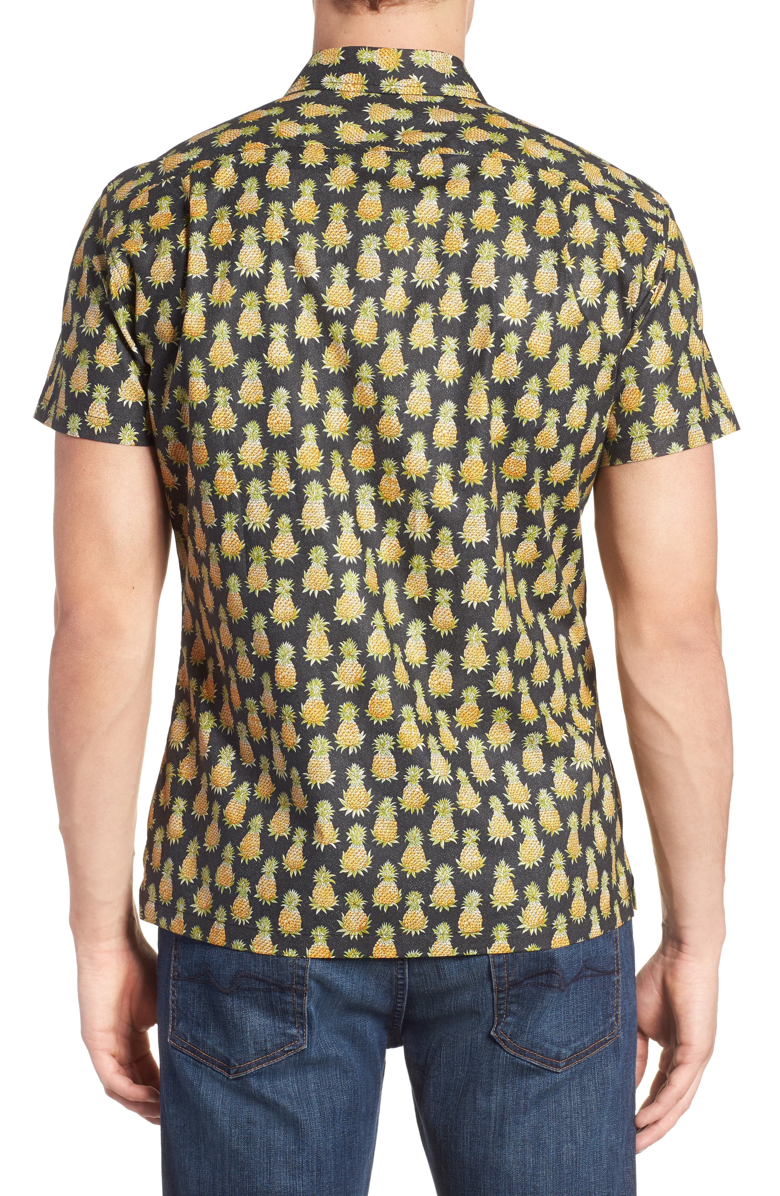 Pineaplism Trim Fit Camp Shirt,                             Alternate thumbnail 2, color,                             BLACK