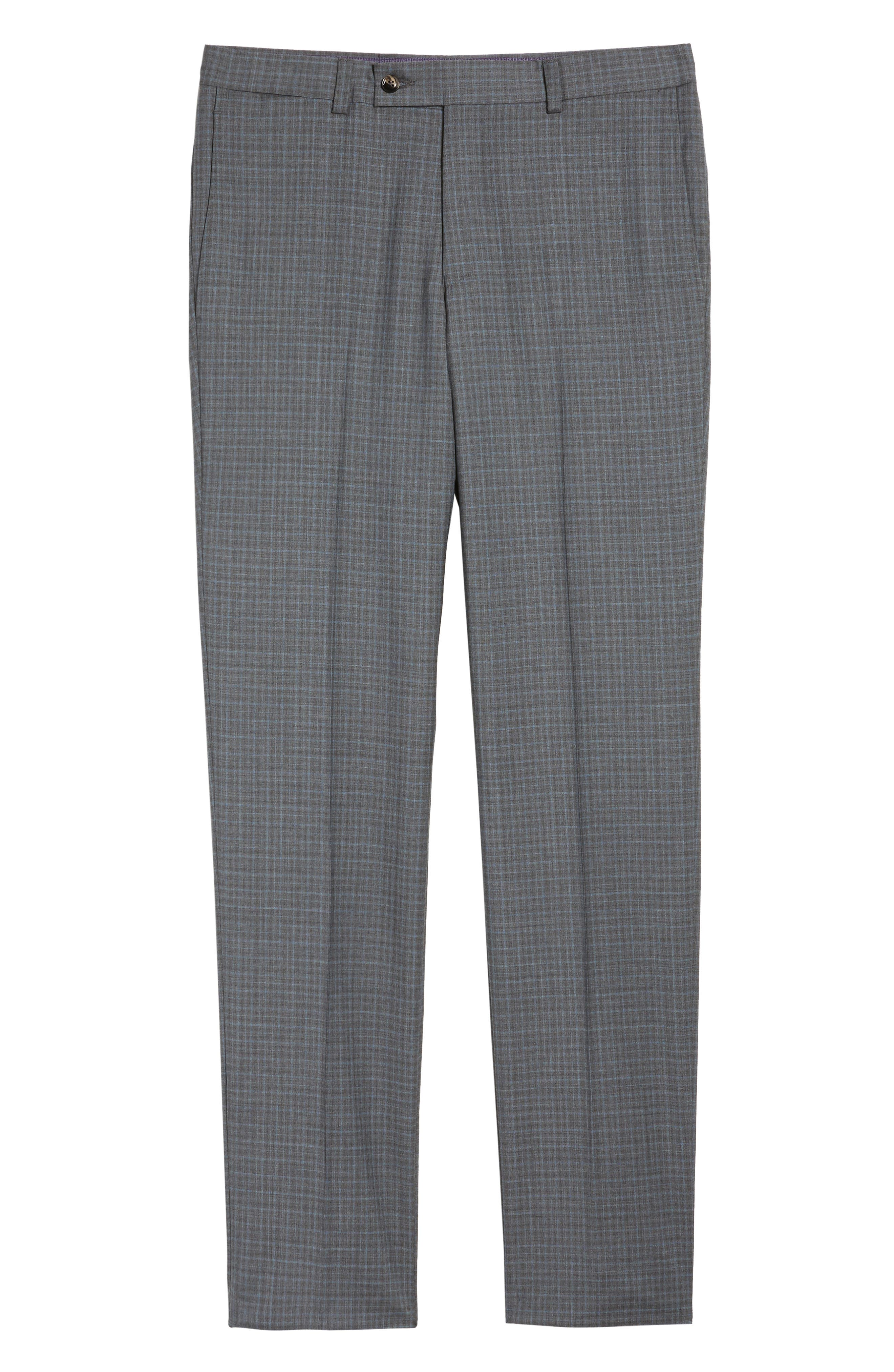 Jefferson Flat Front Check Wool Trousers,                             Alternate thumbnail 16, color,