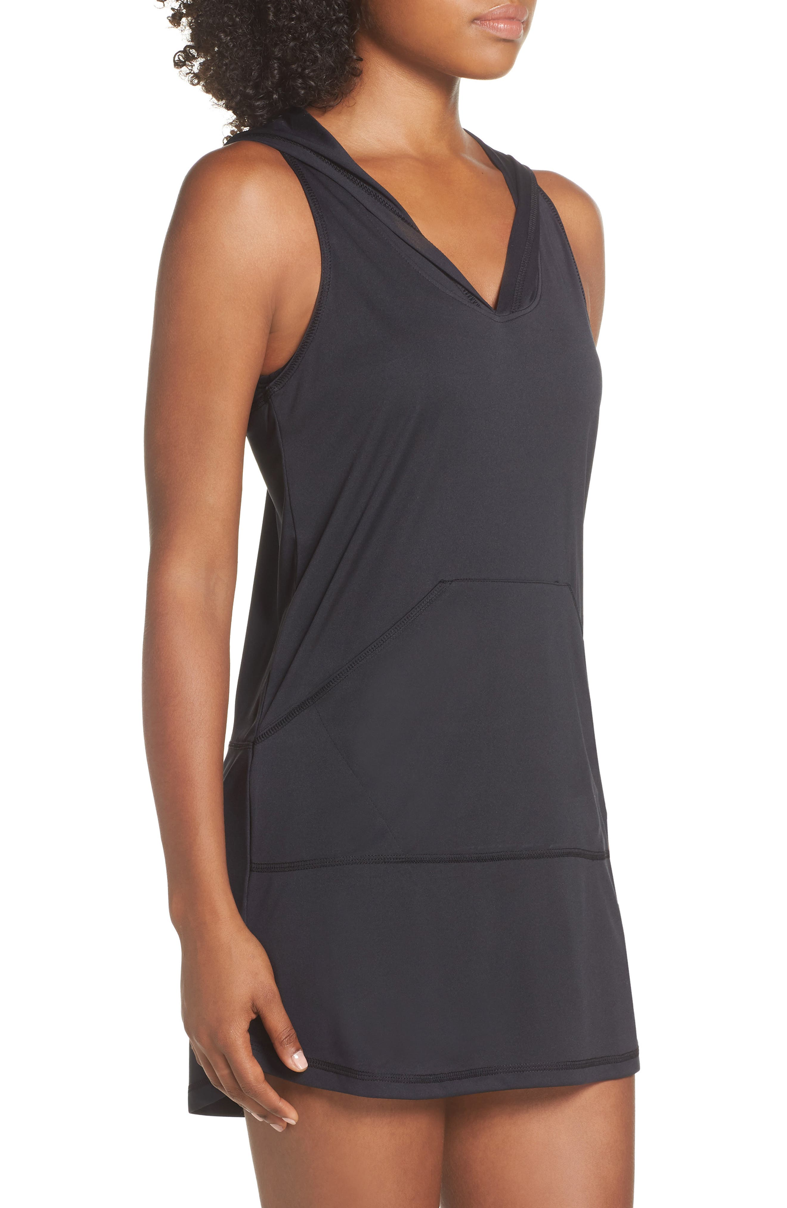 Hooded Cover-Up Dress,                             Alternate thumbnail 3, color,                             BLACK