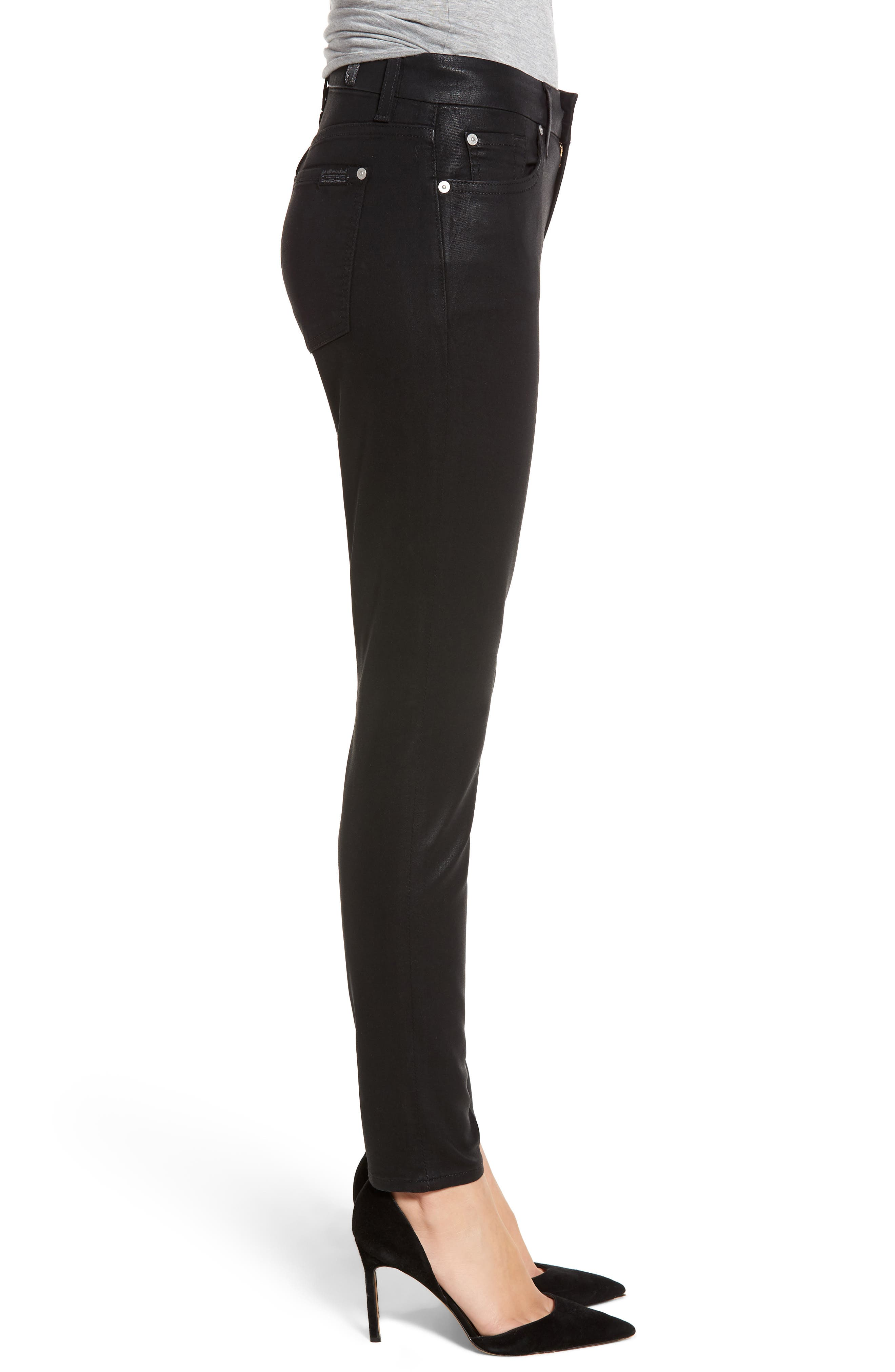 7 FOR ALL MANKIND<SUP>®</SUP>,                             b(air) Coated Ankle Skinny Jeans,                             Alternate thumbnail 4, color,                             BLACK COATED
