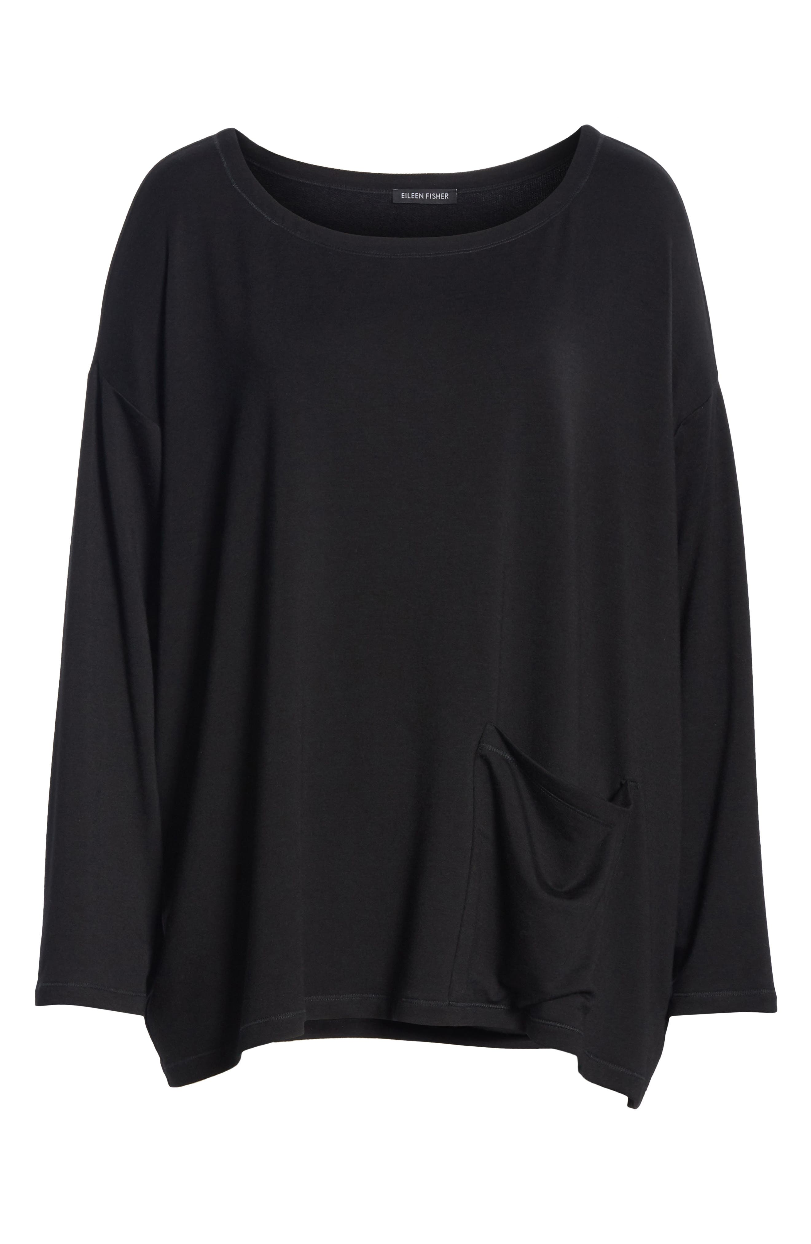 EILEEN FISHER, Stretch Terry Top, Alternate thumbnail 6, color, BLACK