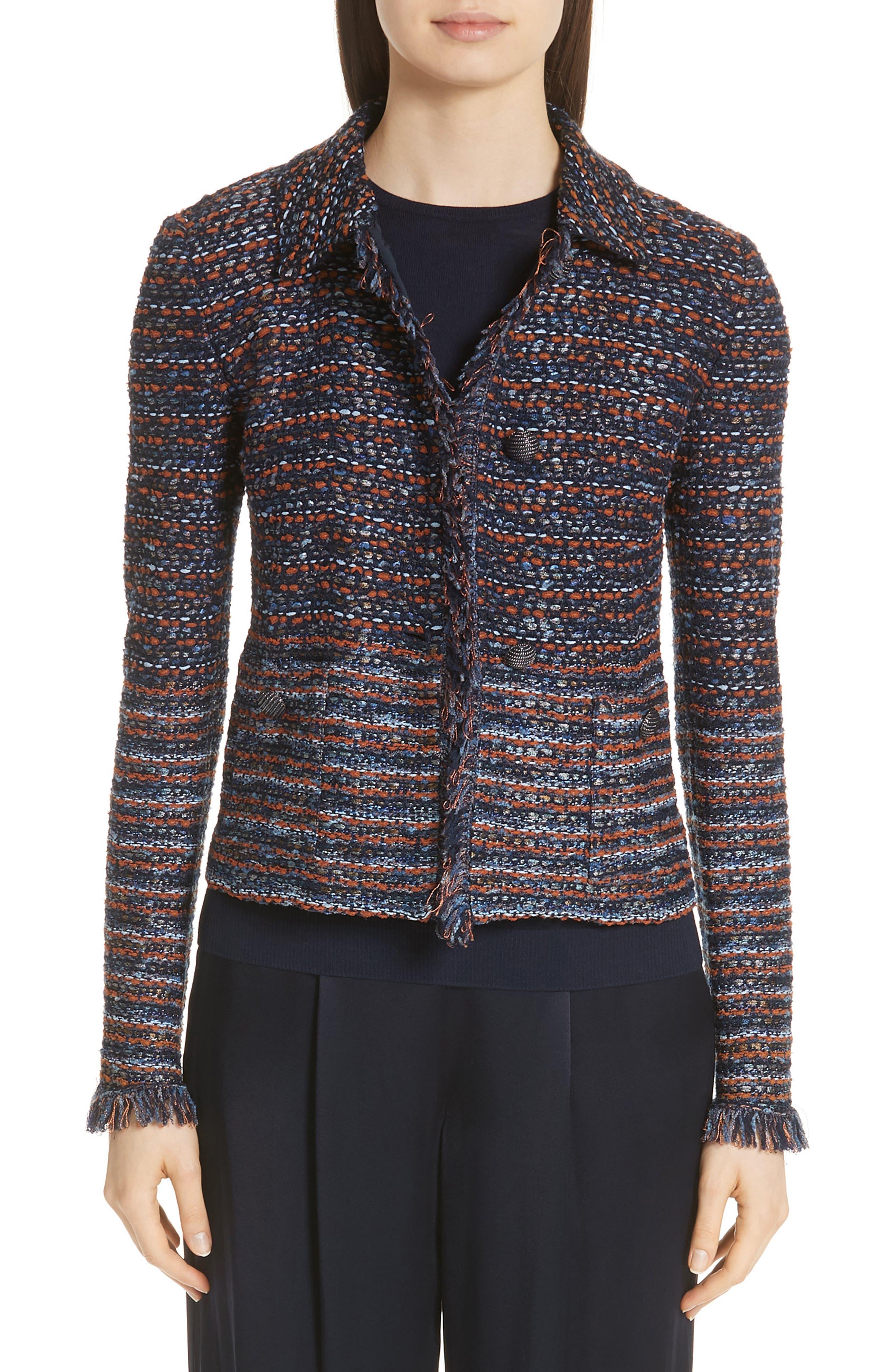 ST. JOHN Ombre Ribbon Knit Fringe Jacket in Navy/ Copper Multi