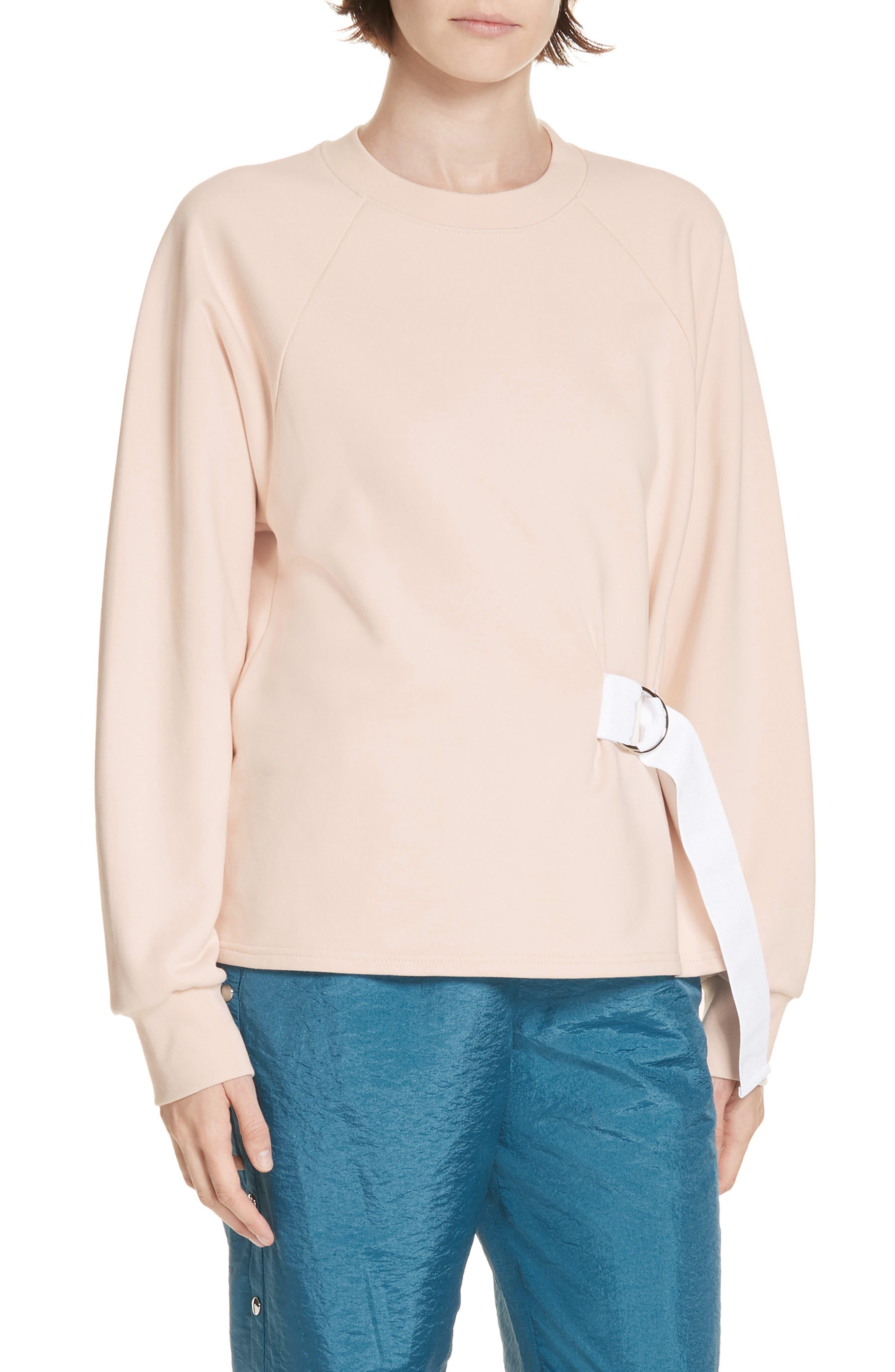 Tibi Belted Sweatshirt, Pink