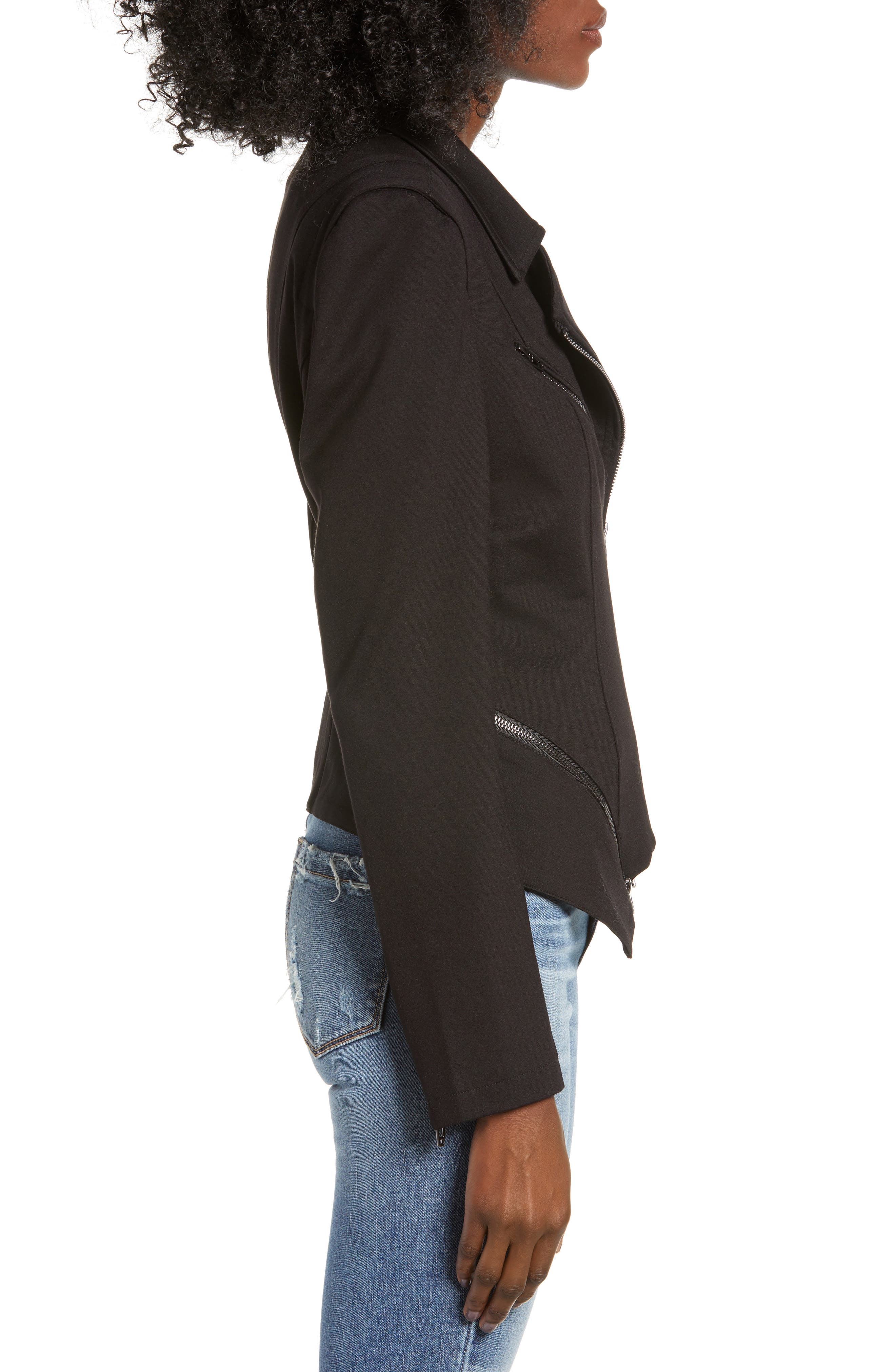 Zip Detail Fitted Ponte Jacket,                             Alternate thumbnail 3, color,                             CAVIAR