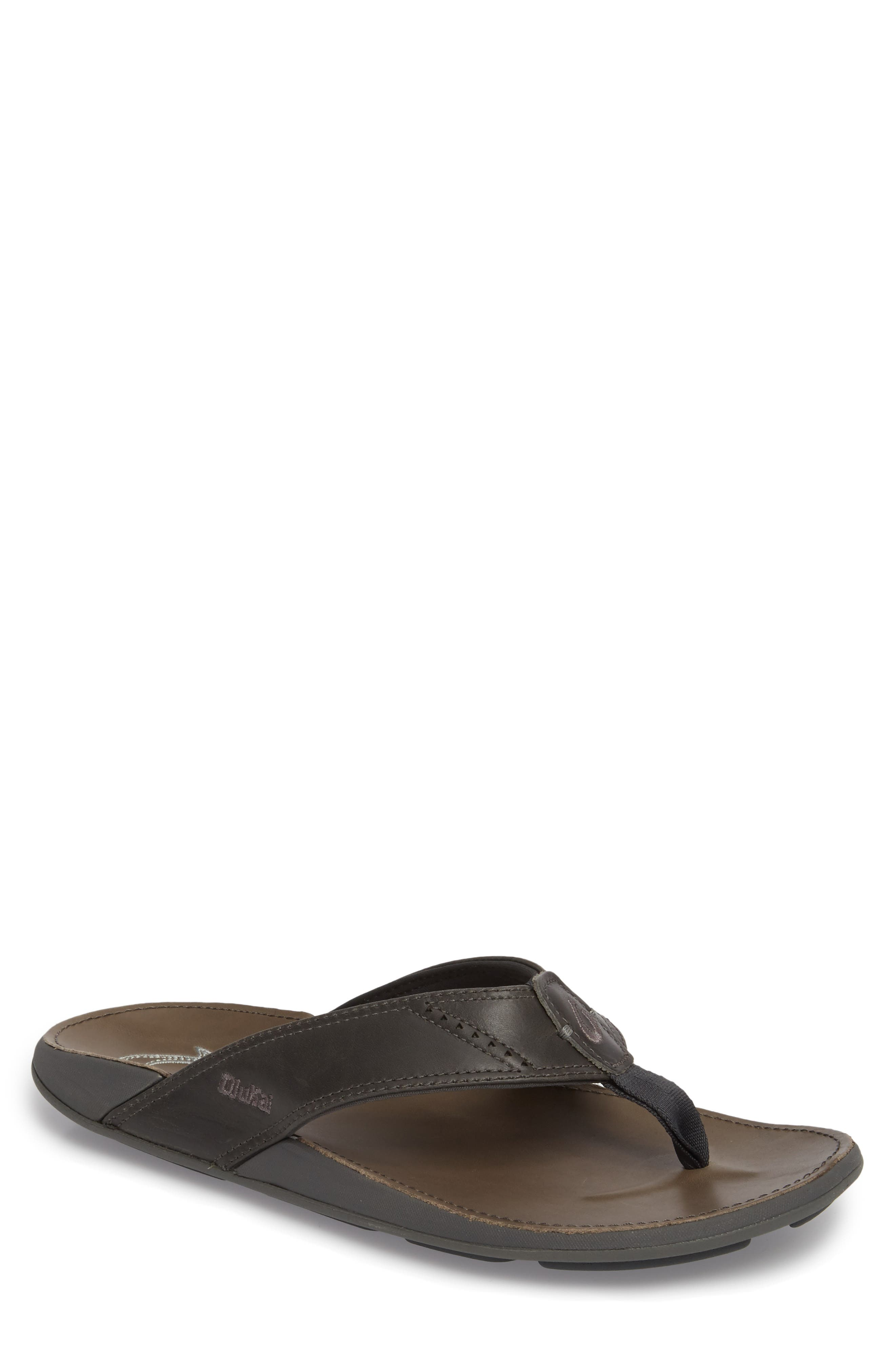'Nui' Leather Flip Flop,                         Main,                         color, DARK SHADOW/ CHARCOAL LEATHER