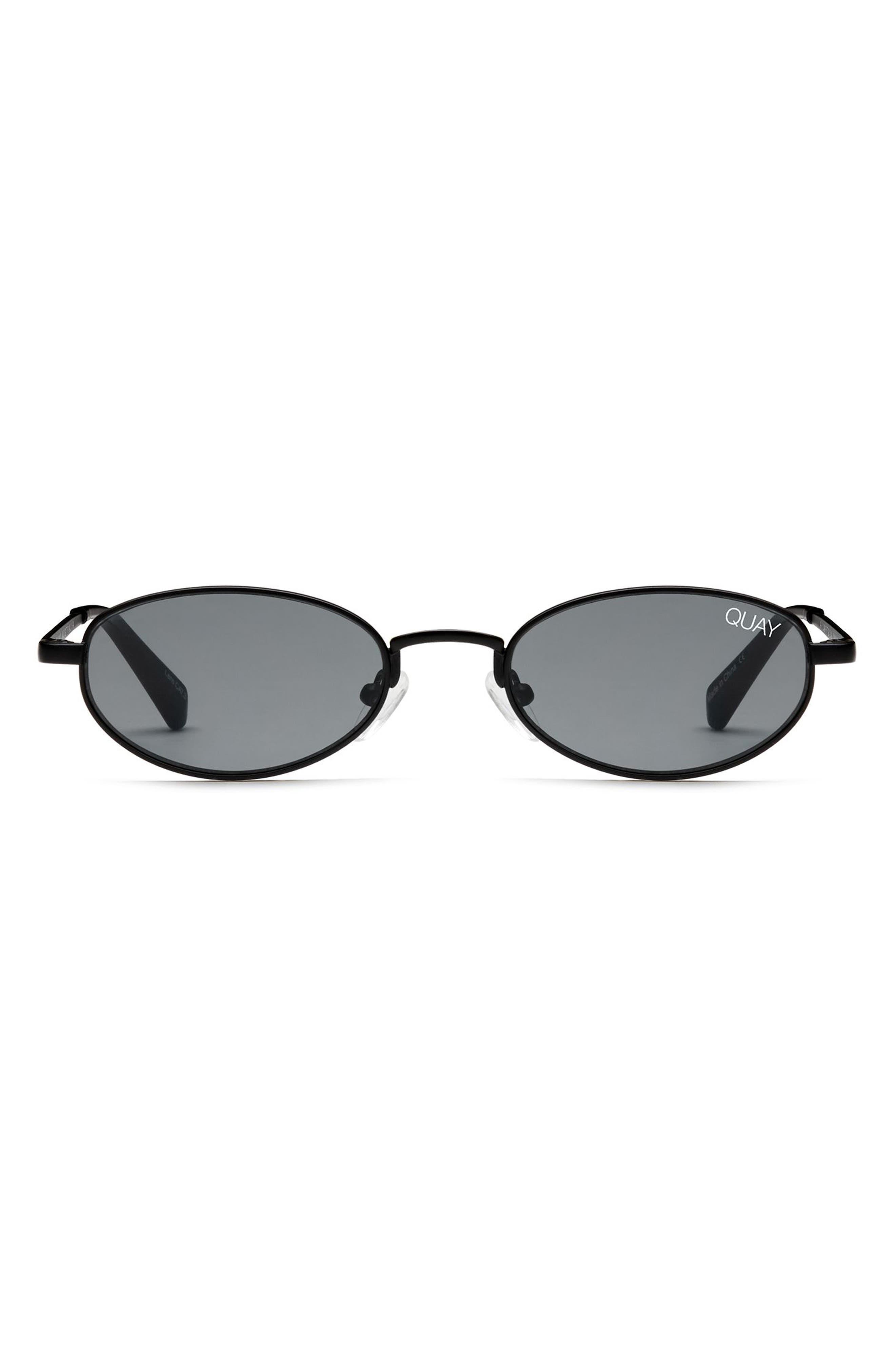 49mm Showdown Oval Sunglasses,                             Alternate thumbnail 5, color,                             BLACK/ SMOKE