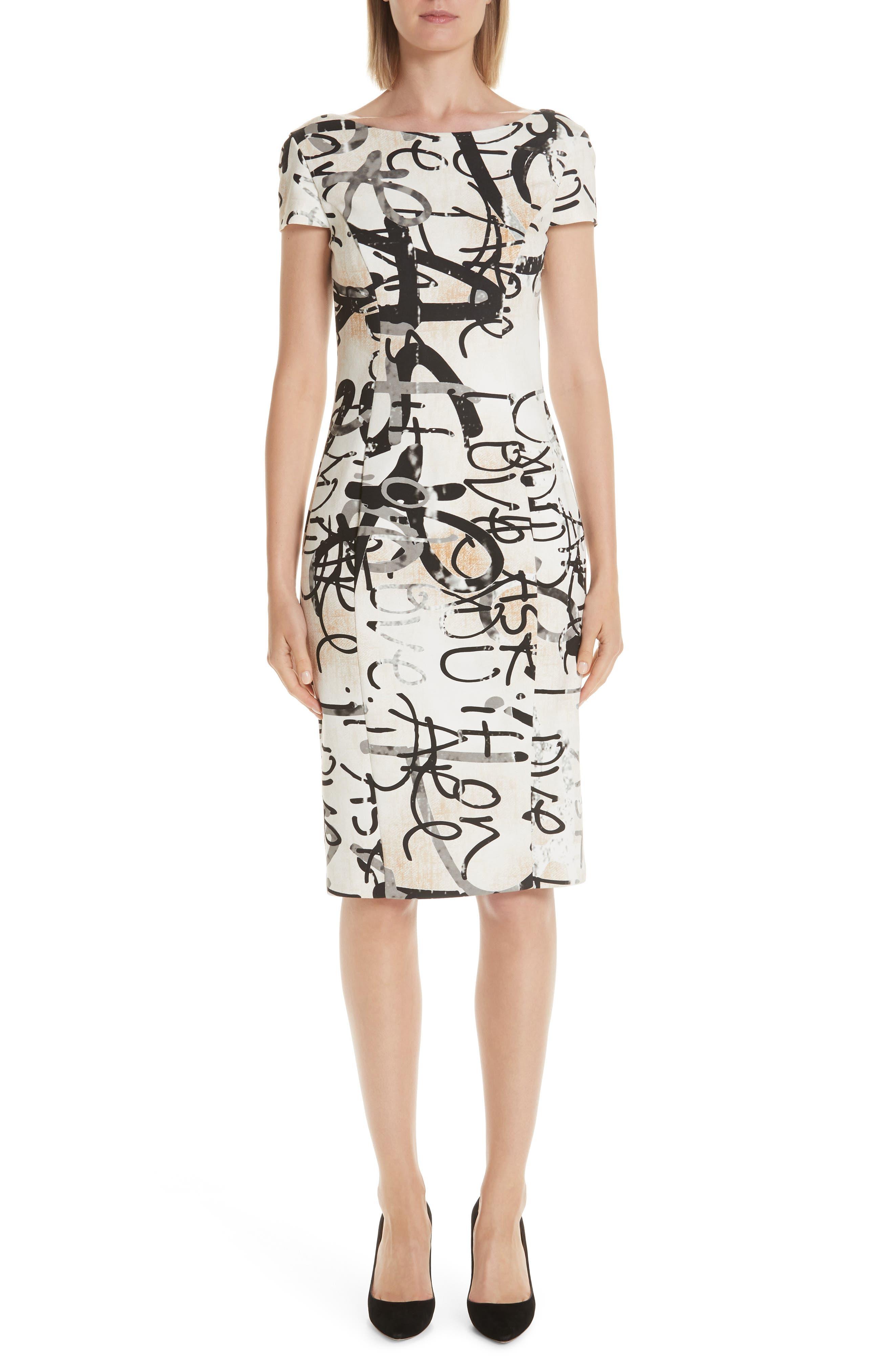 Alcali Scribble Print Sheath Dress, Main, color, BEIGE