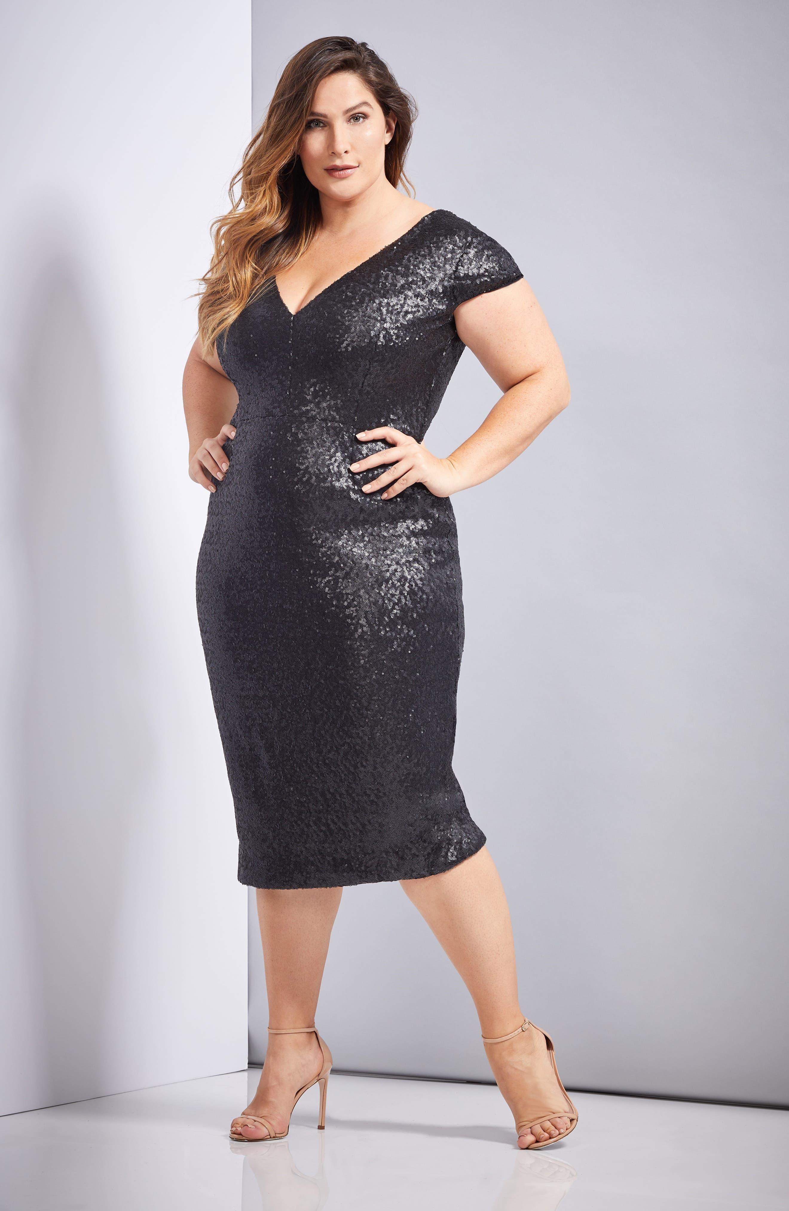 Allison Sequin Sheath Dress,                             Alternate thumbnail 4, color,                             MATTE BLACK
