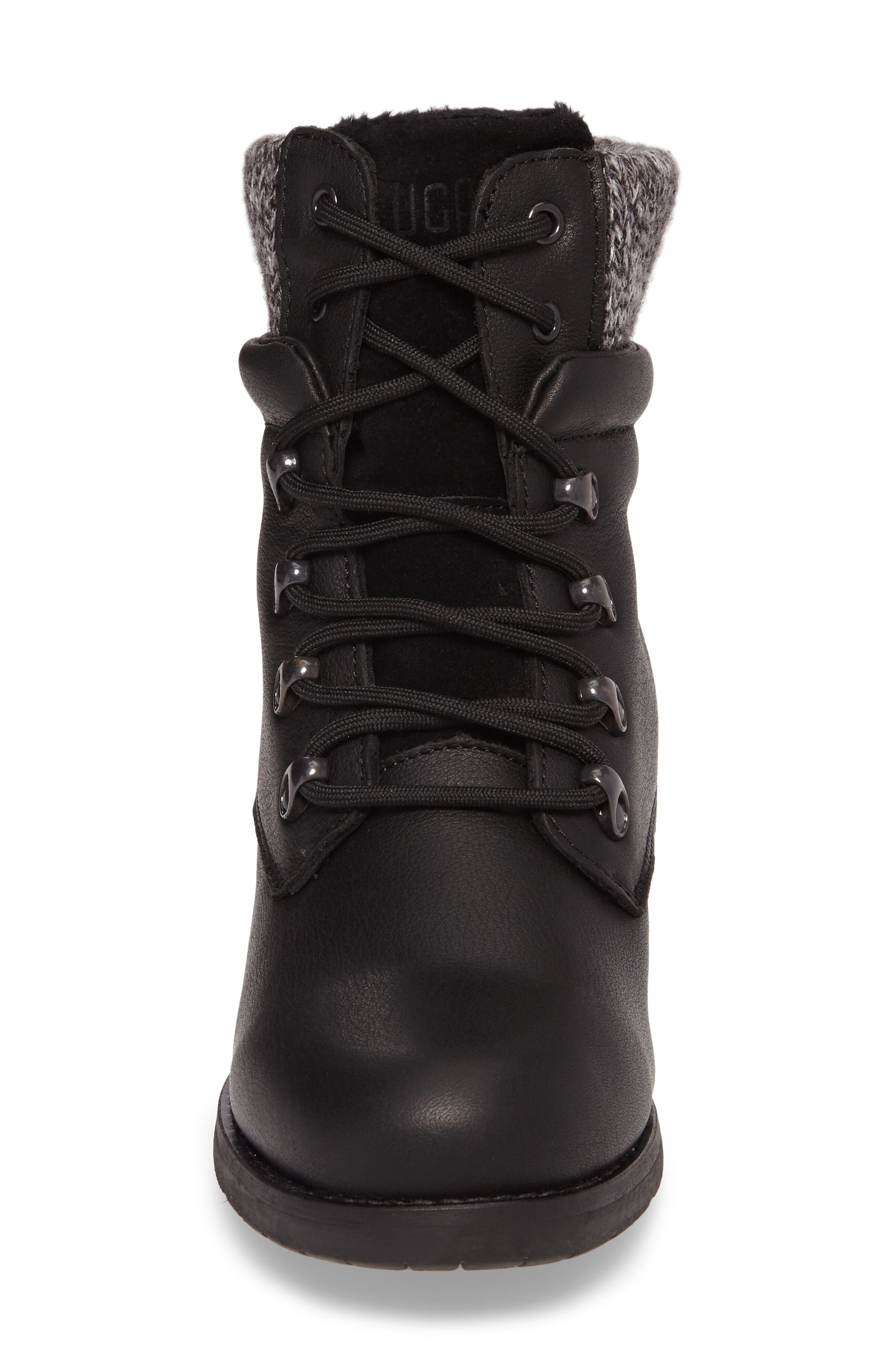 Derry Waterproof Boot,                             Alternate thumbnail 4, color,                             BLACK LEATHER