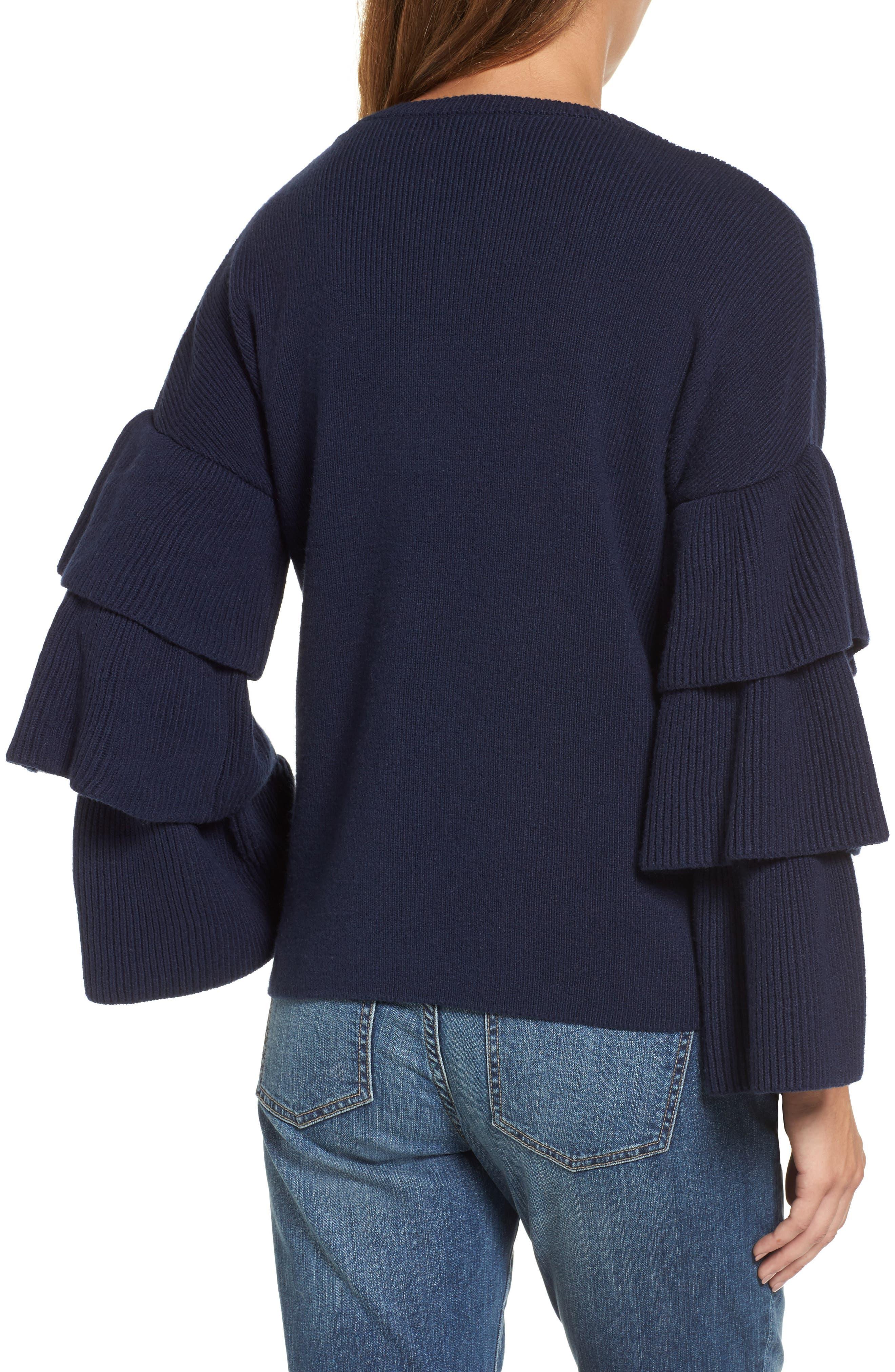 Ruffle Sleeve Sweater,                             Alternate thumbnail 7, color,
