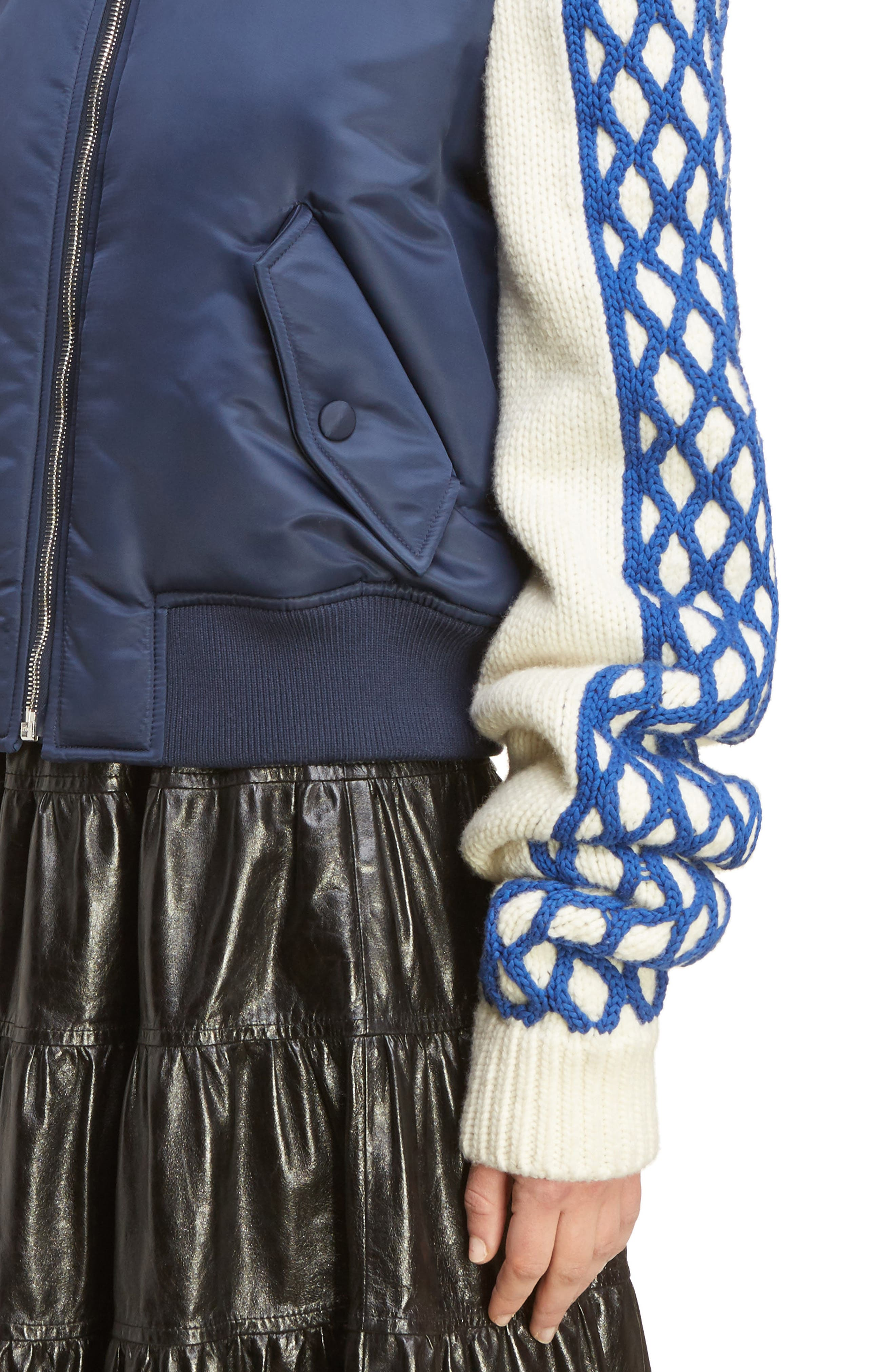 J.W.ANDERSON Cable Sleeve Bomber Jacket,                             Alternate thumbnail 4, color,                             400