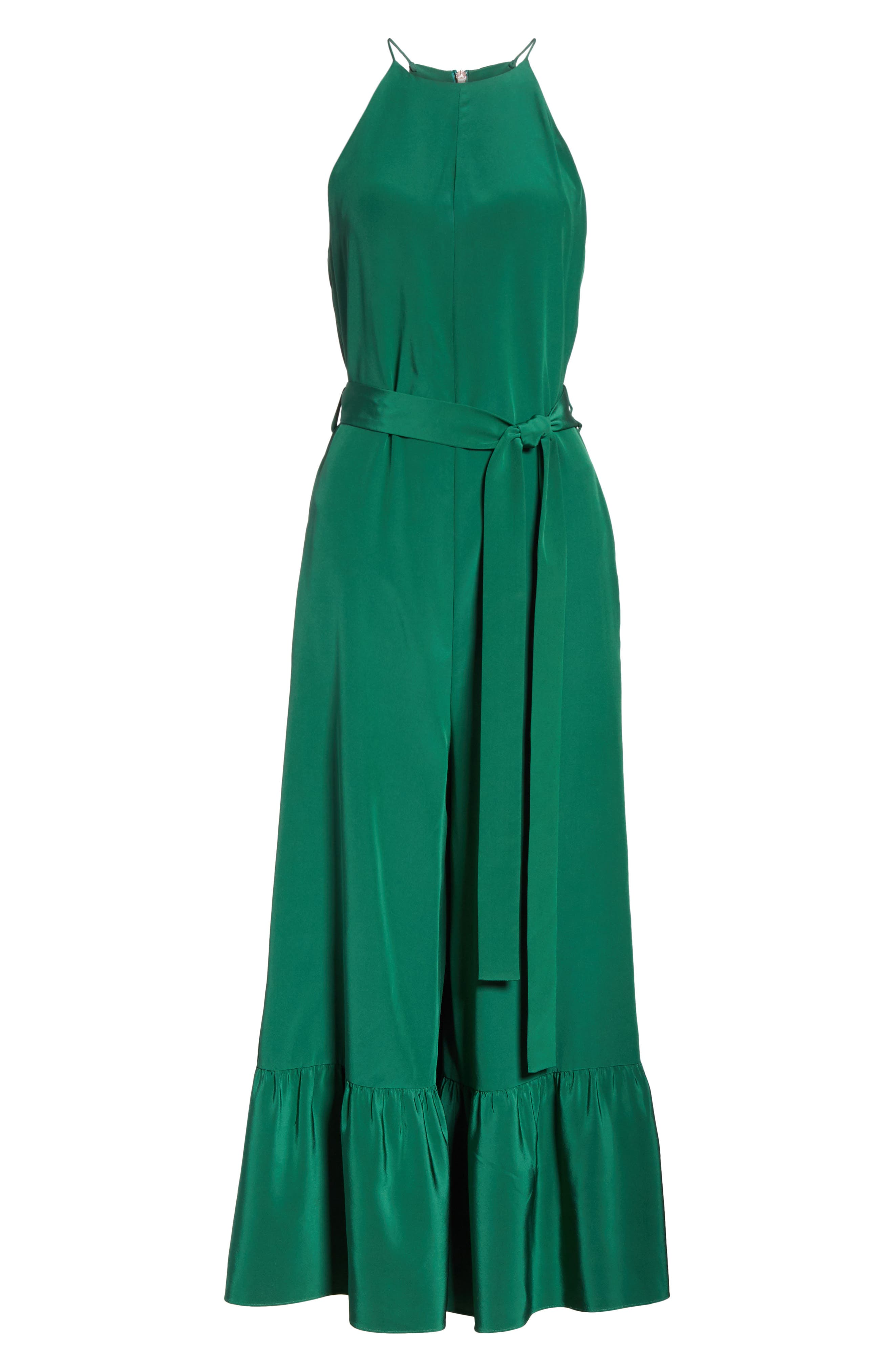Ruffle Silk Jumpsuit,                             Alternate thumbnail 6, color,                             GREEN