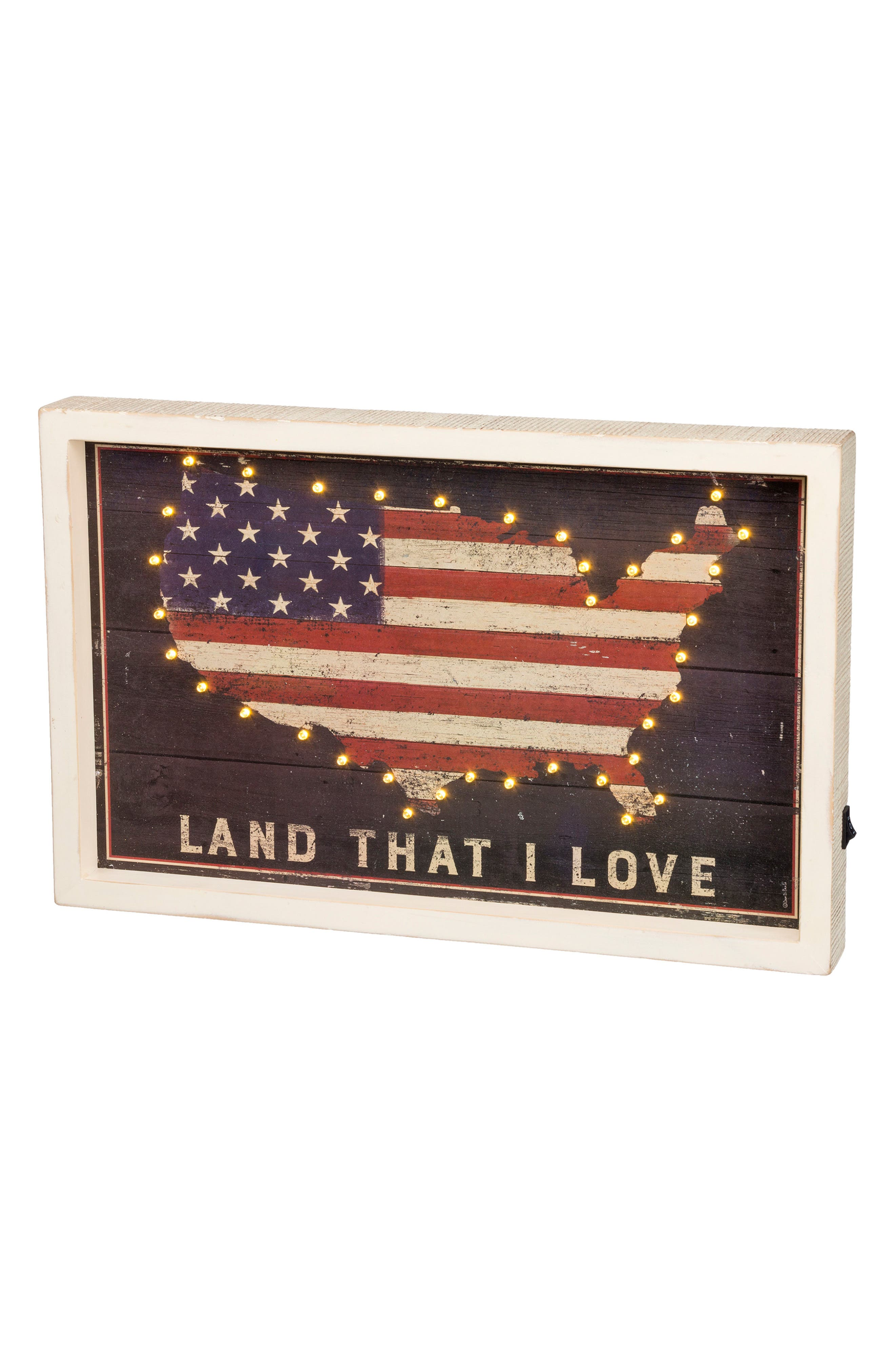 Land I Love LED Box Sign,                             Main thumbnail 1, color,                             100