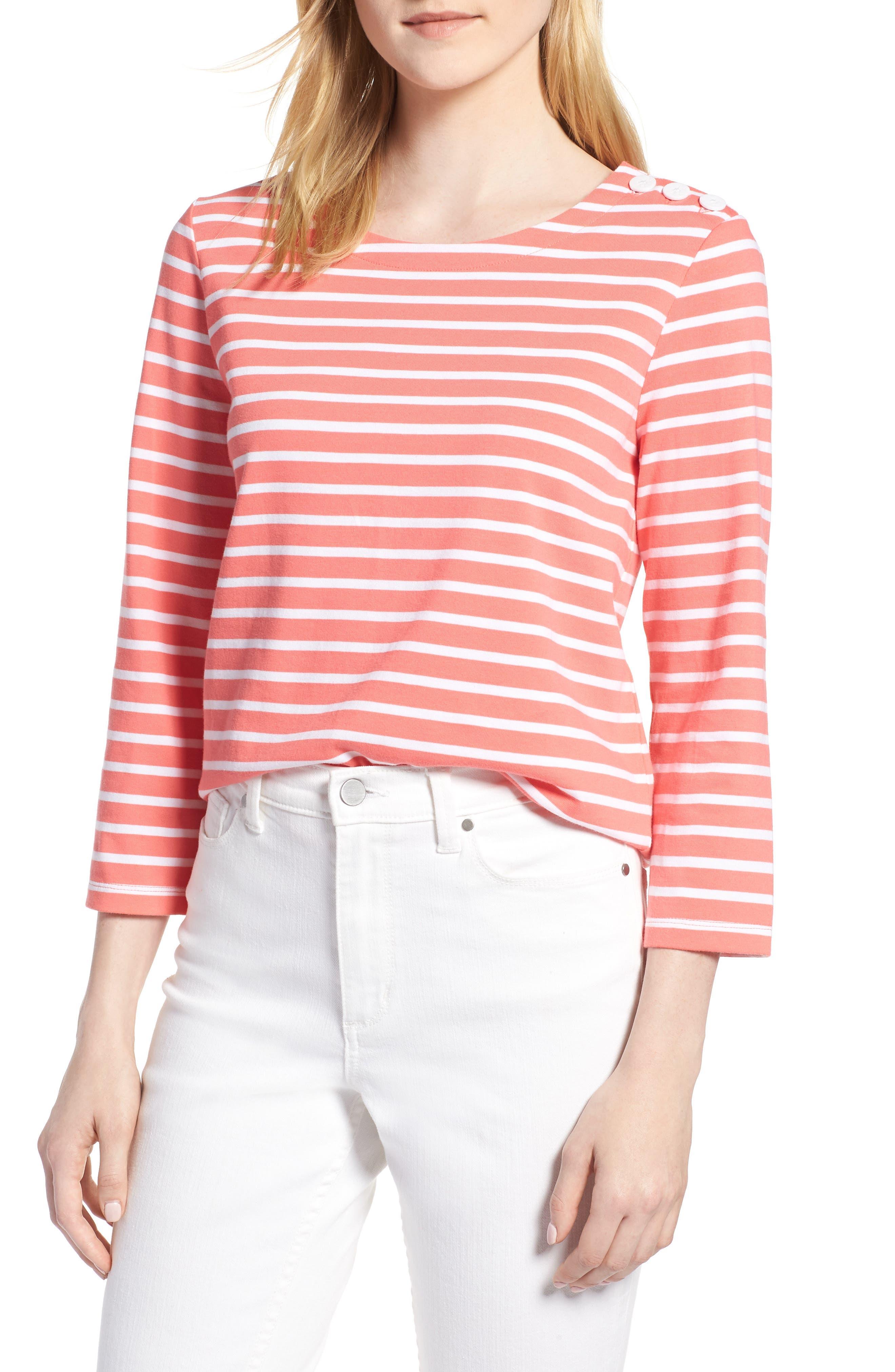 Shoulder Button Cotton Top,                         Main,                         color, 958