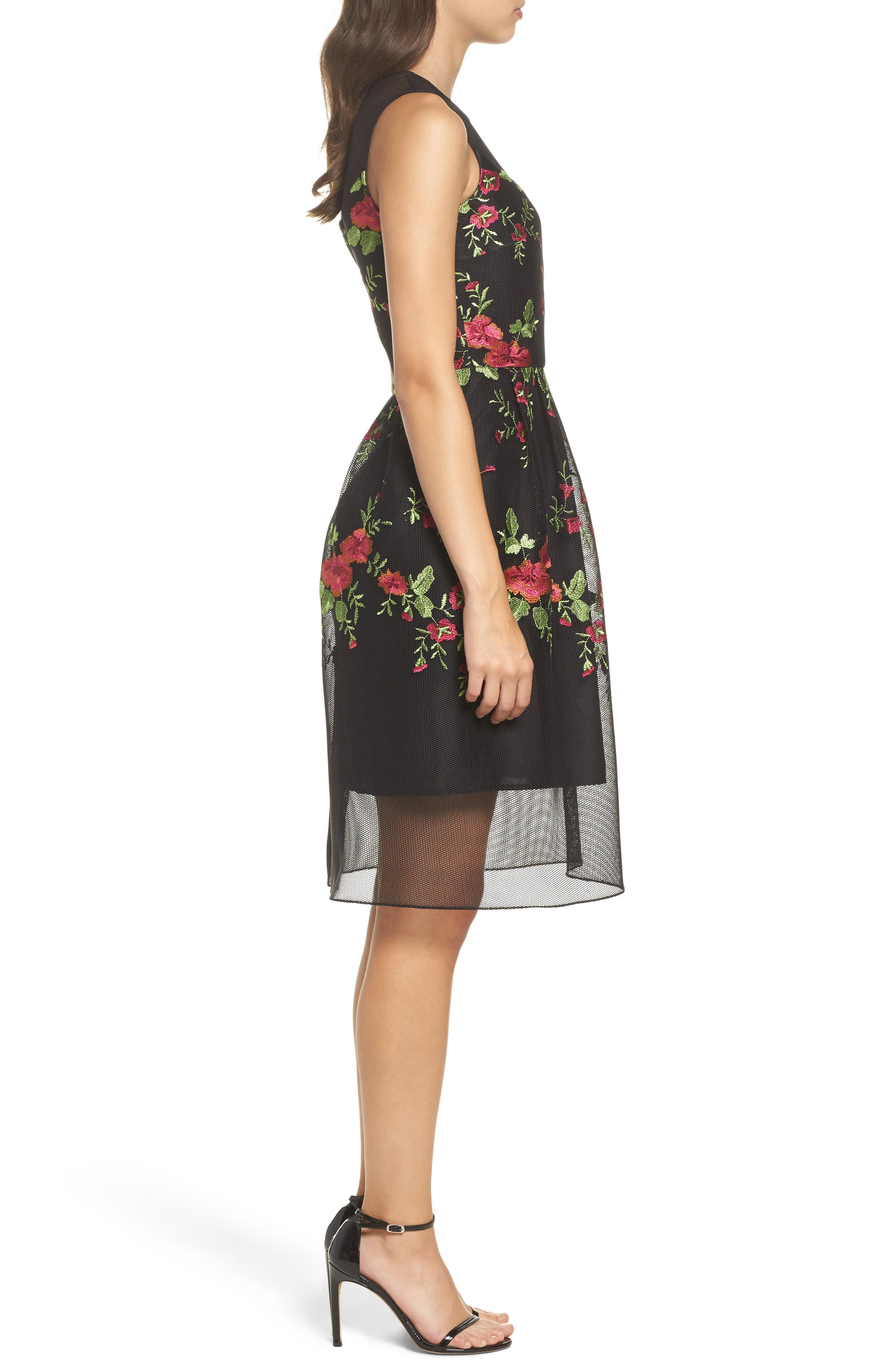 Embroidered Fit & Flare Dress,                             Alternate thumbnail 3, color,