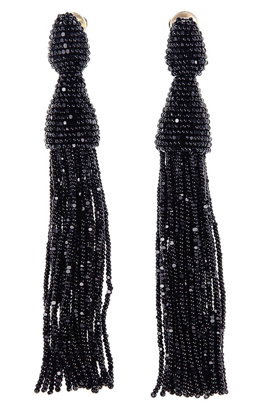 Long Tassel Drop Clip Earrings,                             Main thumbnail 1, color,                             BLACK