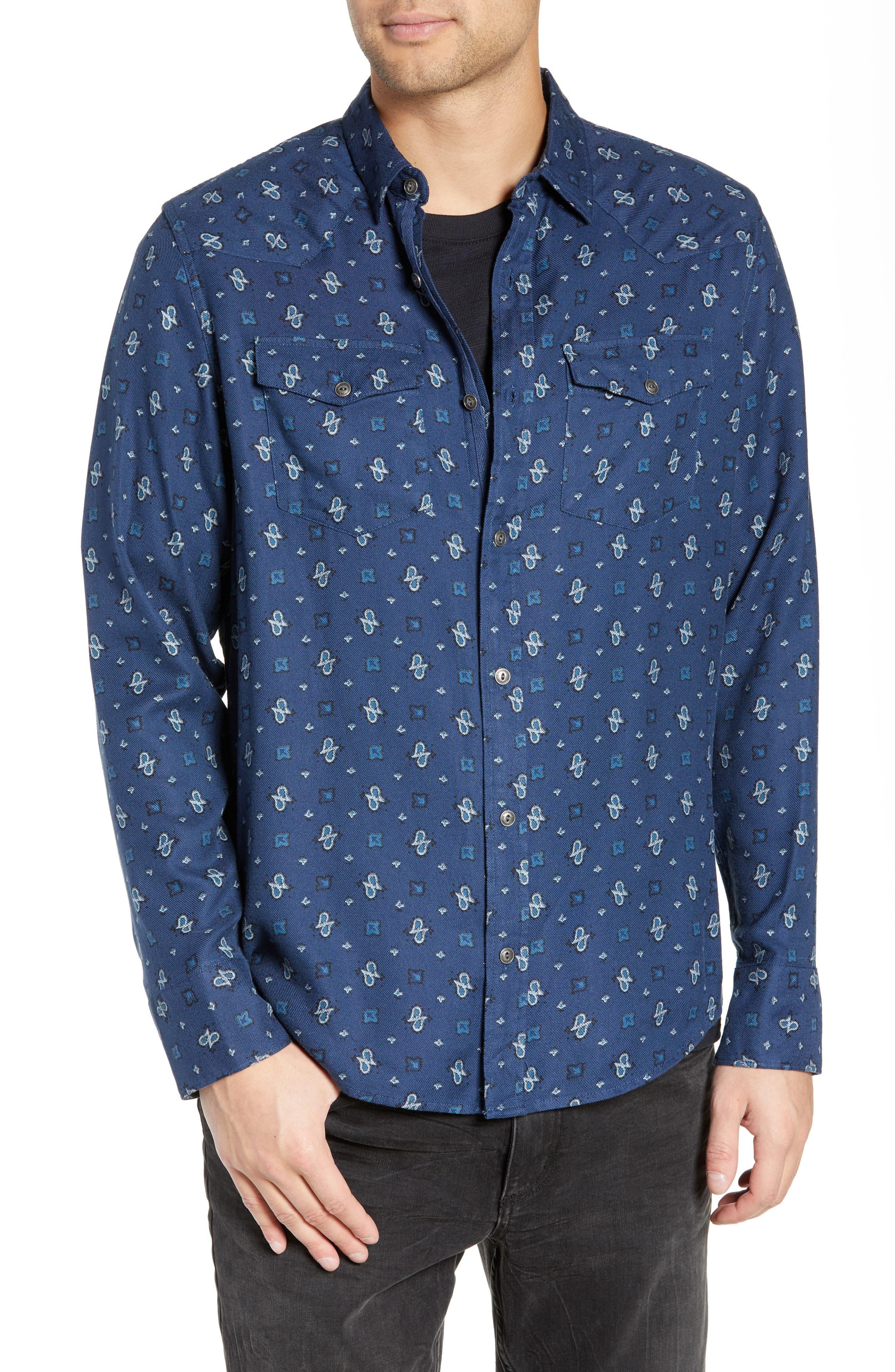 Regular Fit Paisley Western Shirt,                             Main thumbnail 1, color,                             BLUE CASPIA DESERT PAISLEY