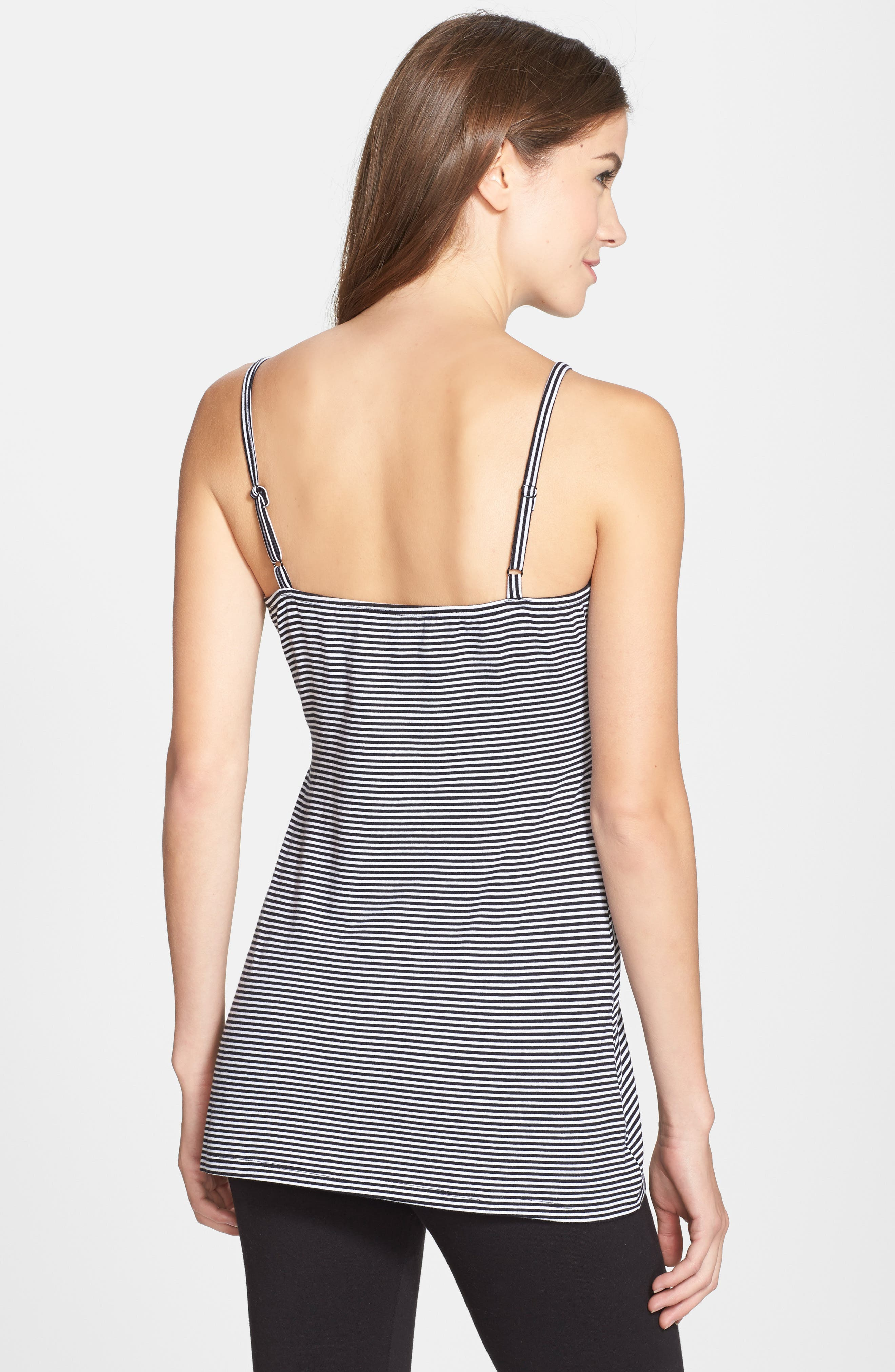 'Before & After' Maternity & Nursing Cami,                             Alternate thumbnail 2, color,                             BLACK STRIPE
