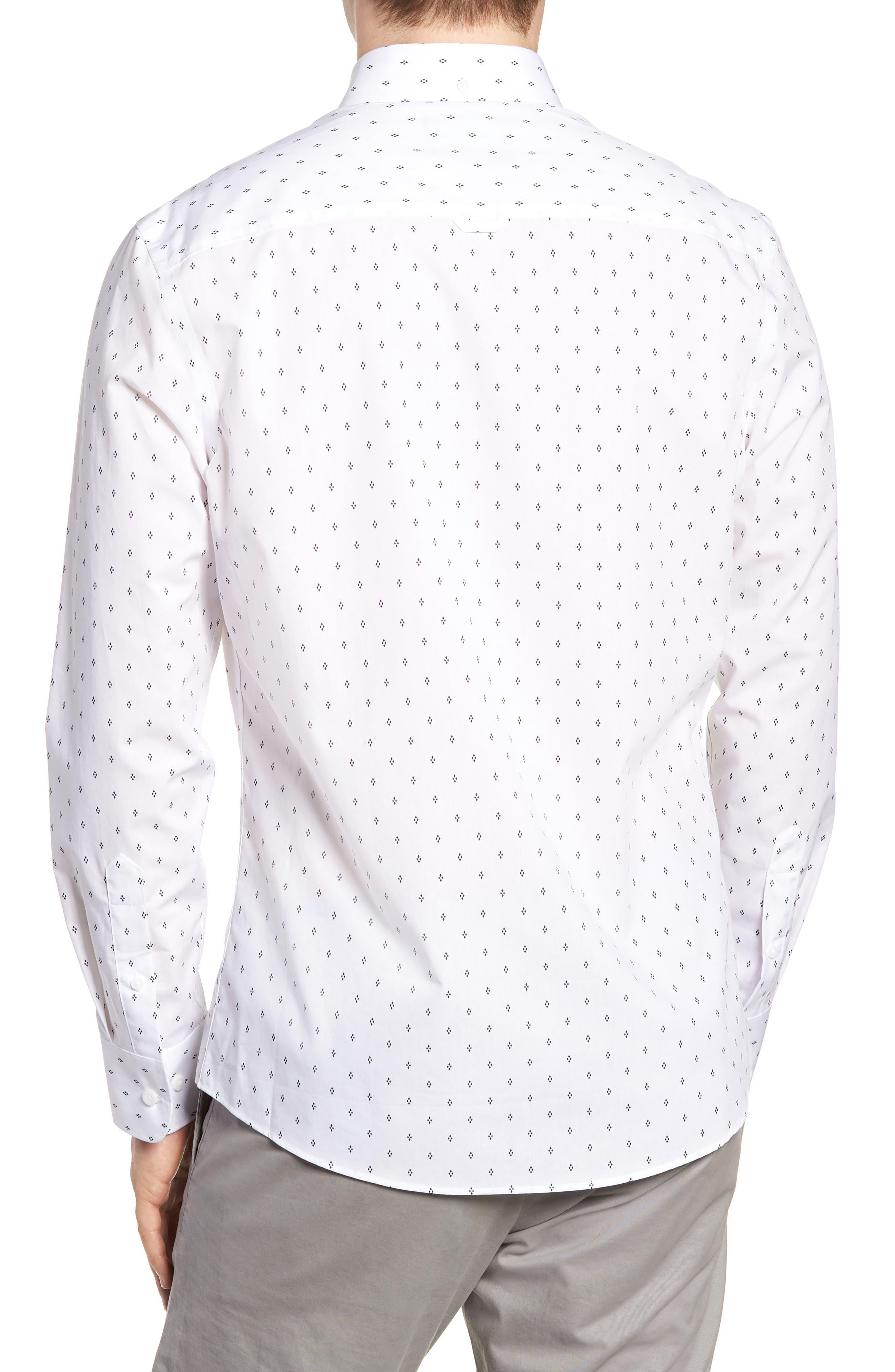 Slim Fit Non-Iron Print Sport Shirt,                             Alternate thumbnail 2, color,                             WHITE NAVY IRIS DIAMOND