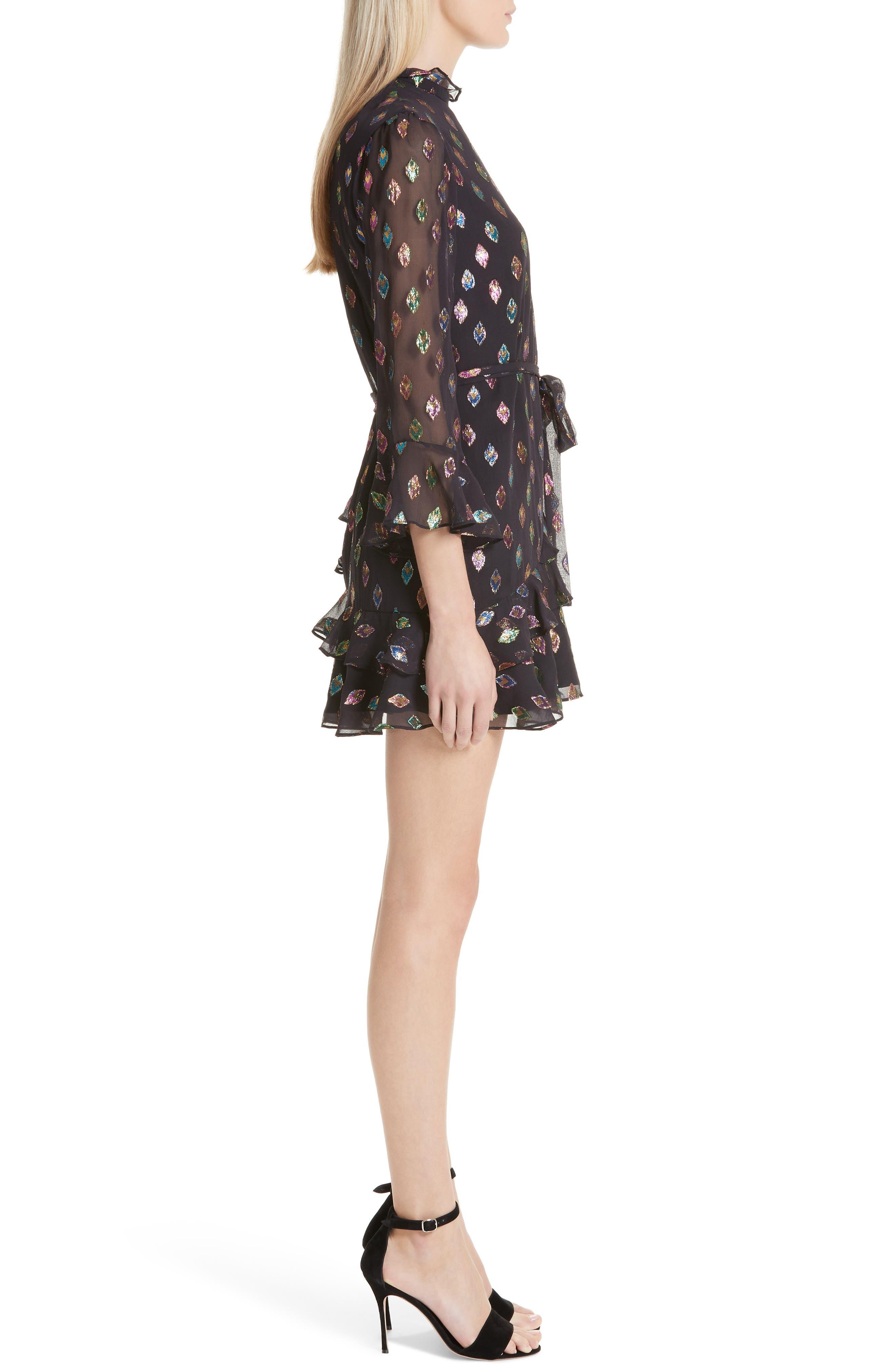 Marissa Metallic Fil Coupé Silk Blend Minidress,                             Alternate thumbnail 3, color,                             BLACK RAINBOW