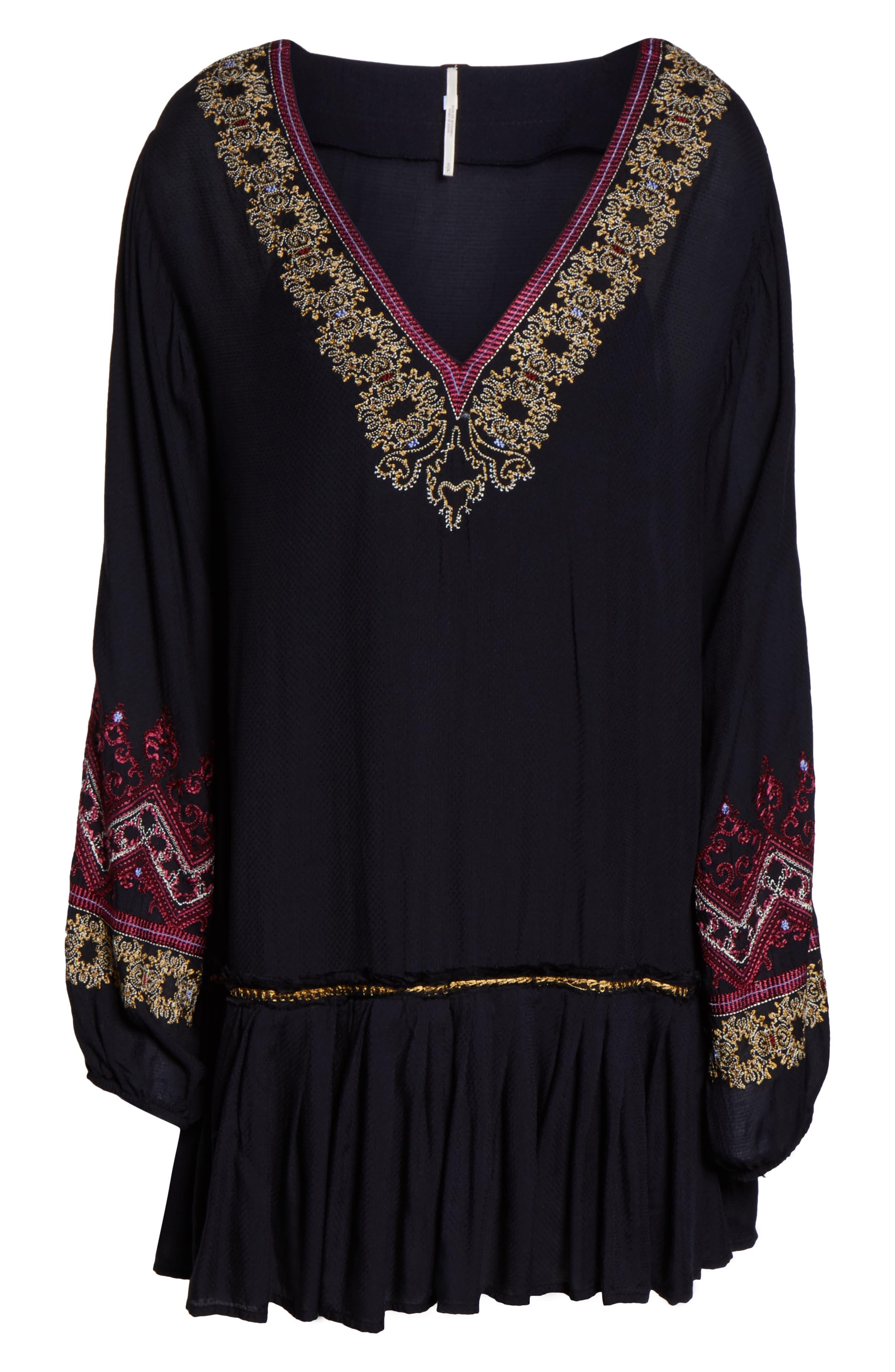 Wild One Embellished Dress,                             Alternate thumbnail 6, color,                             BLACK