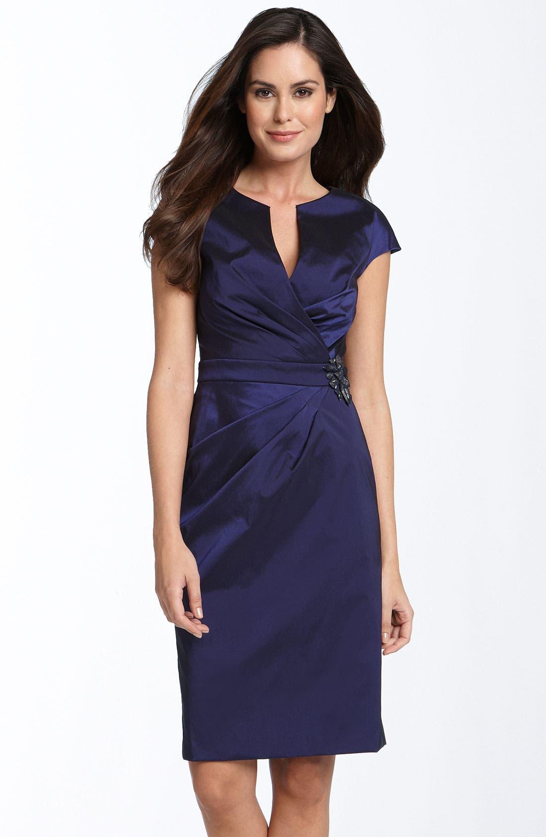 ELIZA J Rhinestone Brooch Stretch Taffeta Sheath Dress, Main, color, 402