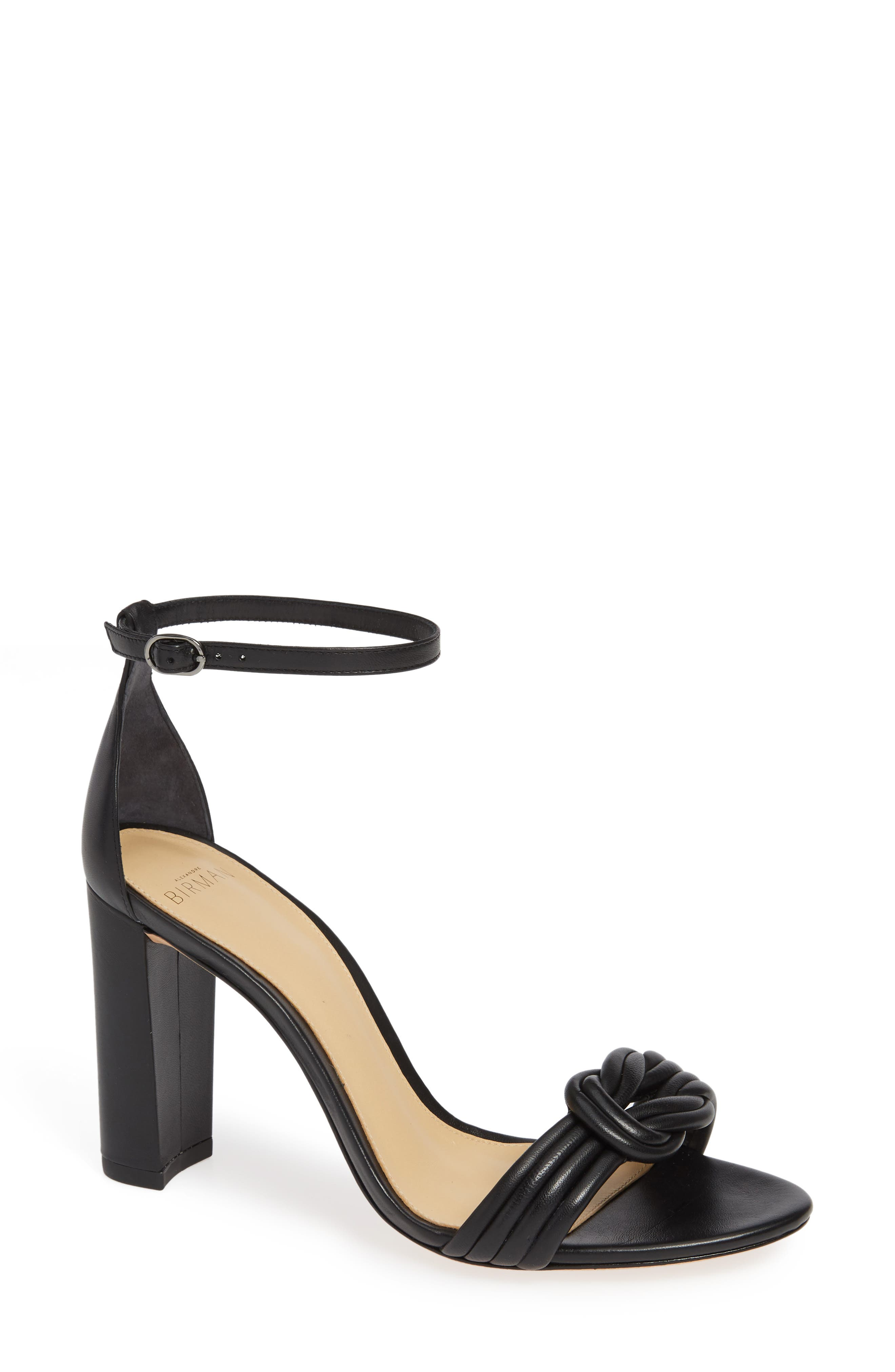 Chiara Knot Leather Sandals in Black Leather
