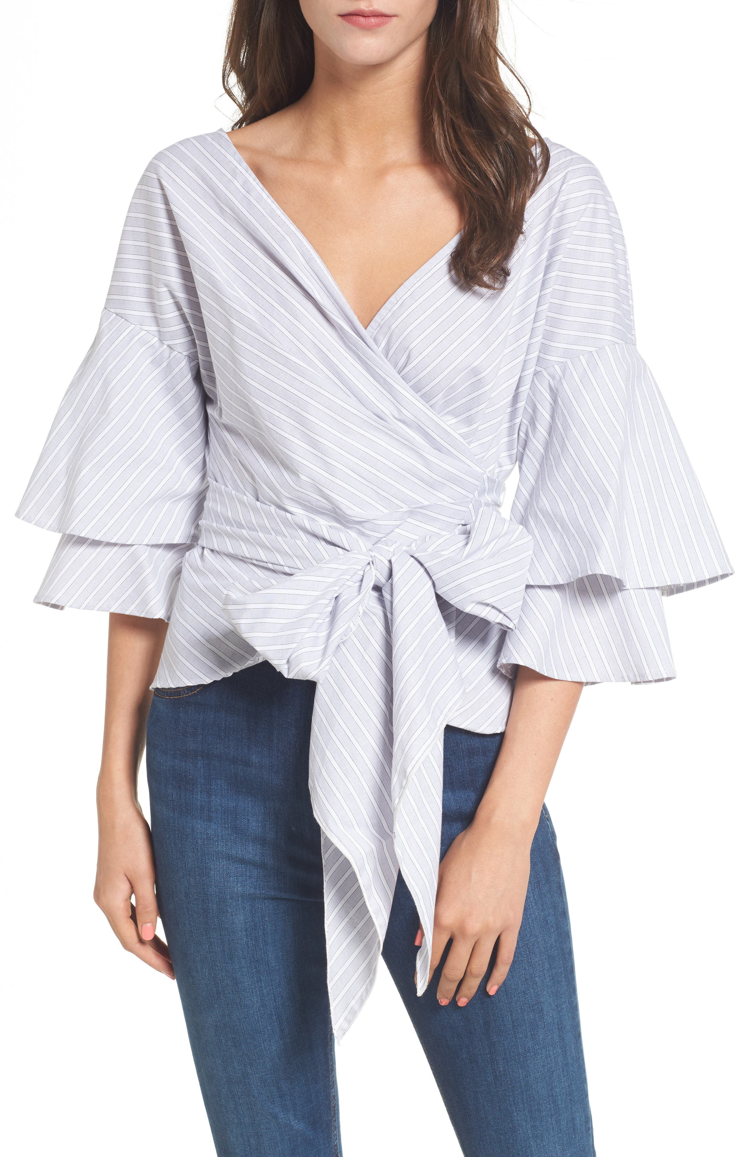 Beckett Tiered Bell Sleeve Top,                             Main thumbnail 2, color,