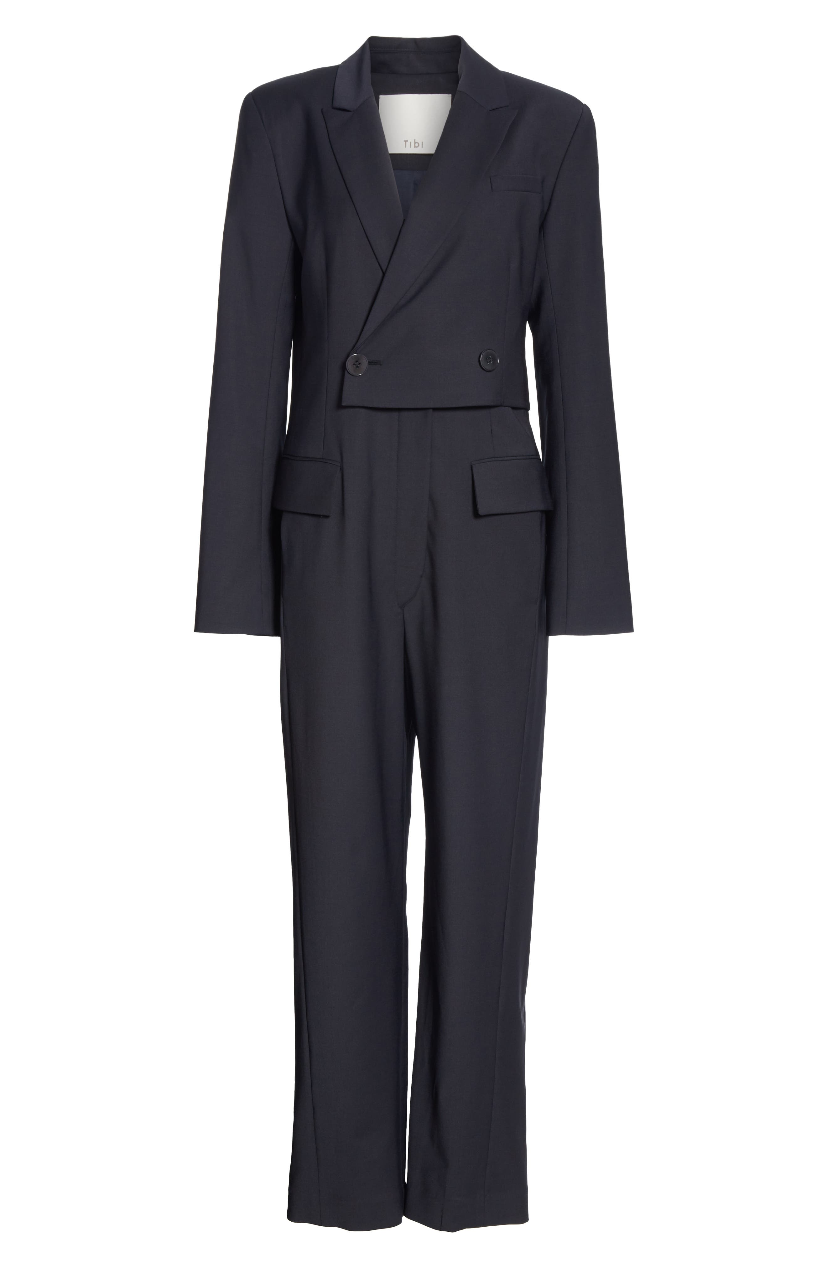 TIBI,                             Plain Weave Blazer Jumpsuit,                             Alternate thumbnail 7, color,                             DARK NAVY