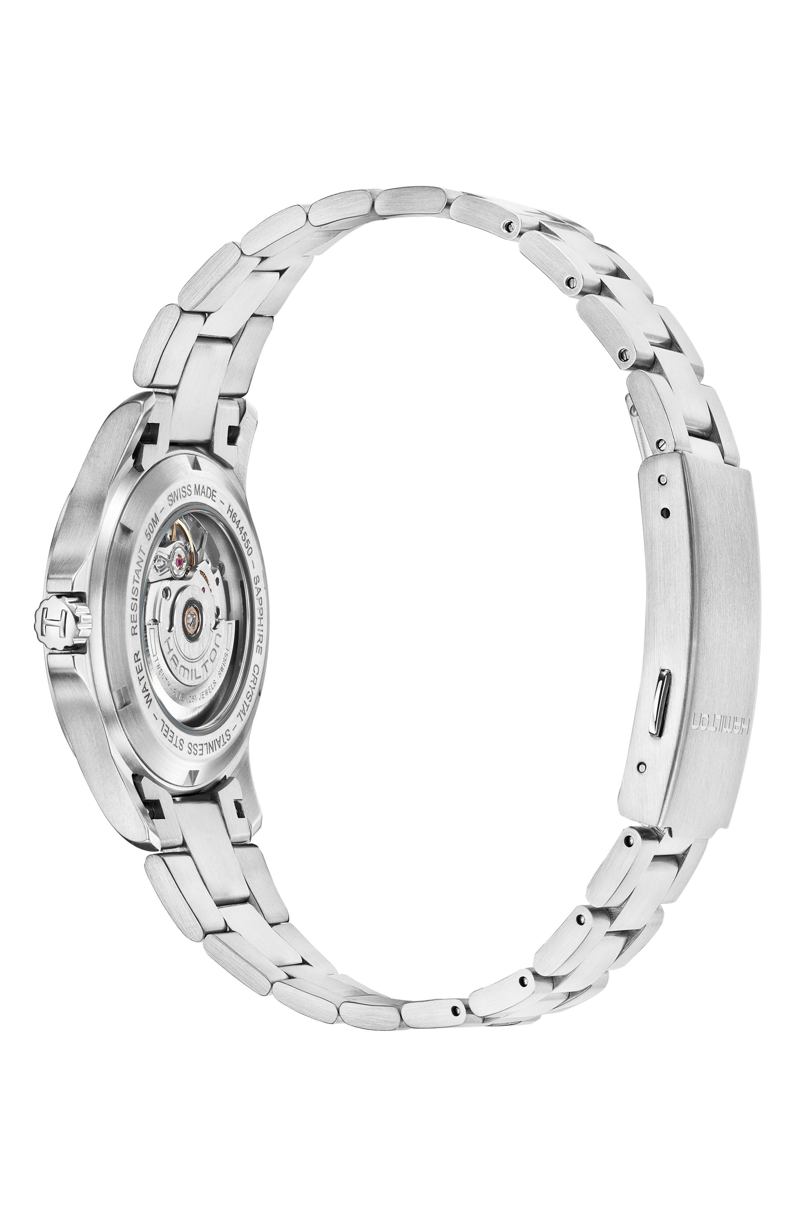 Khaki Field King Automatic Bracelet Watch, 40mm,                             Alternate thumbnail 3, color,                             SILVER/ BLACK/ SILVER