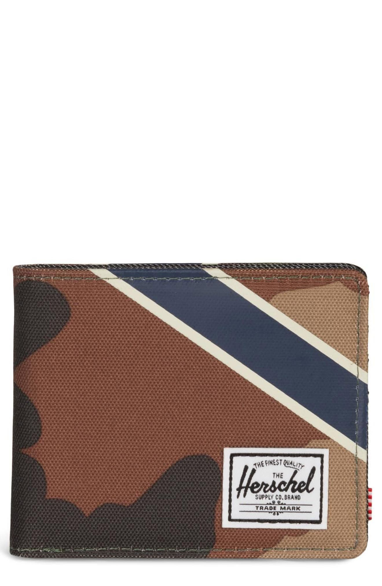 Roy Offset RFID Wallet,                             Main thumbnail 1, color,                             WOODLAND/ SILVER GREEN/ DENIM