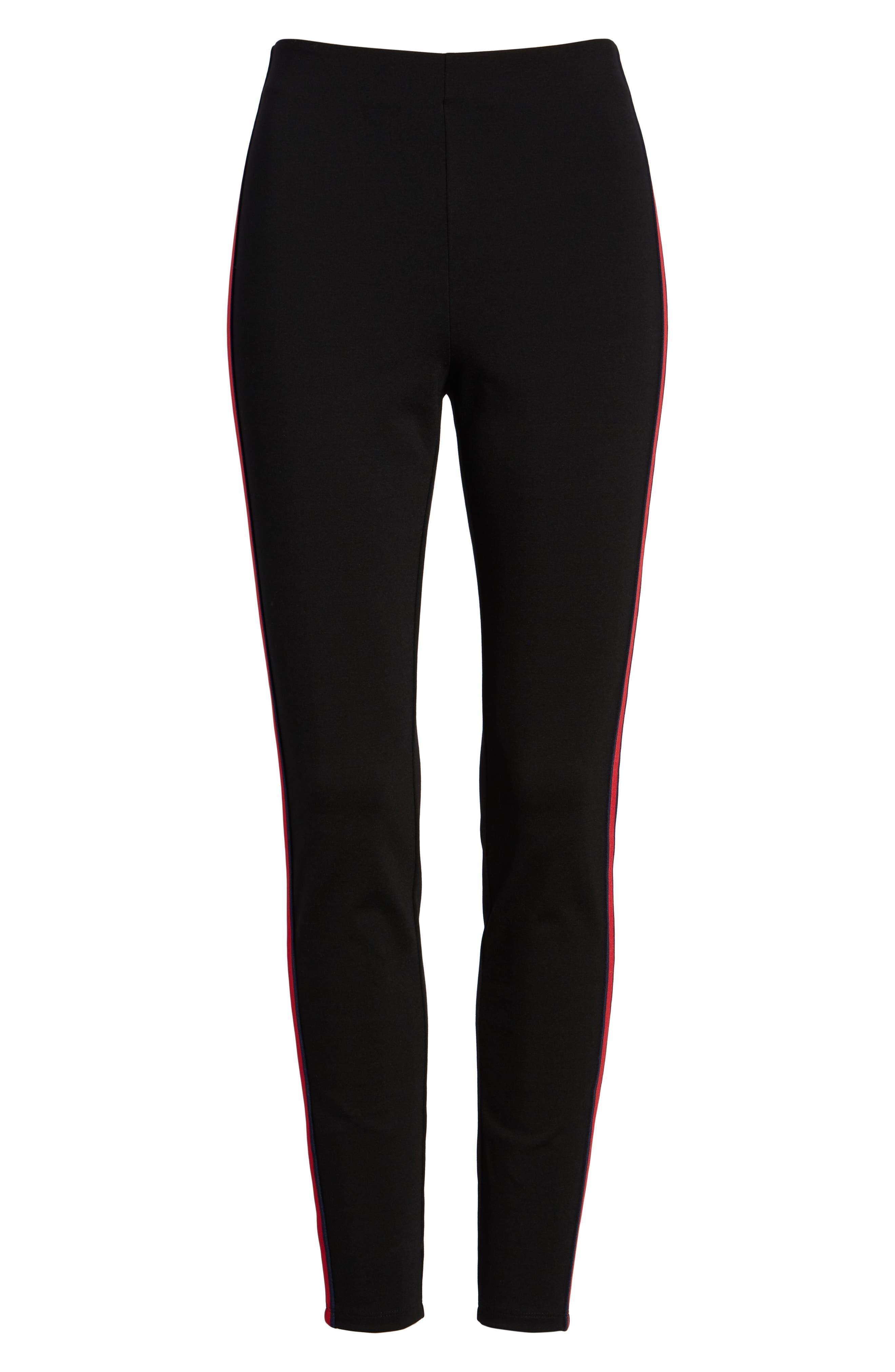 Side Stripe Ponte Pants,                             Alternate thumbnail 6, color,                             BLACK
