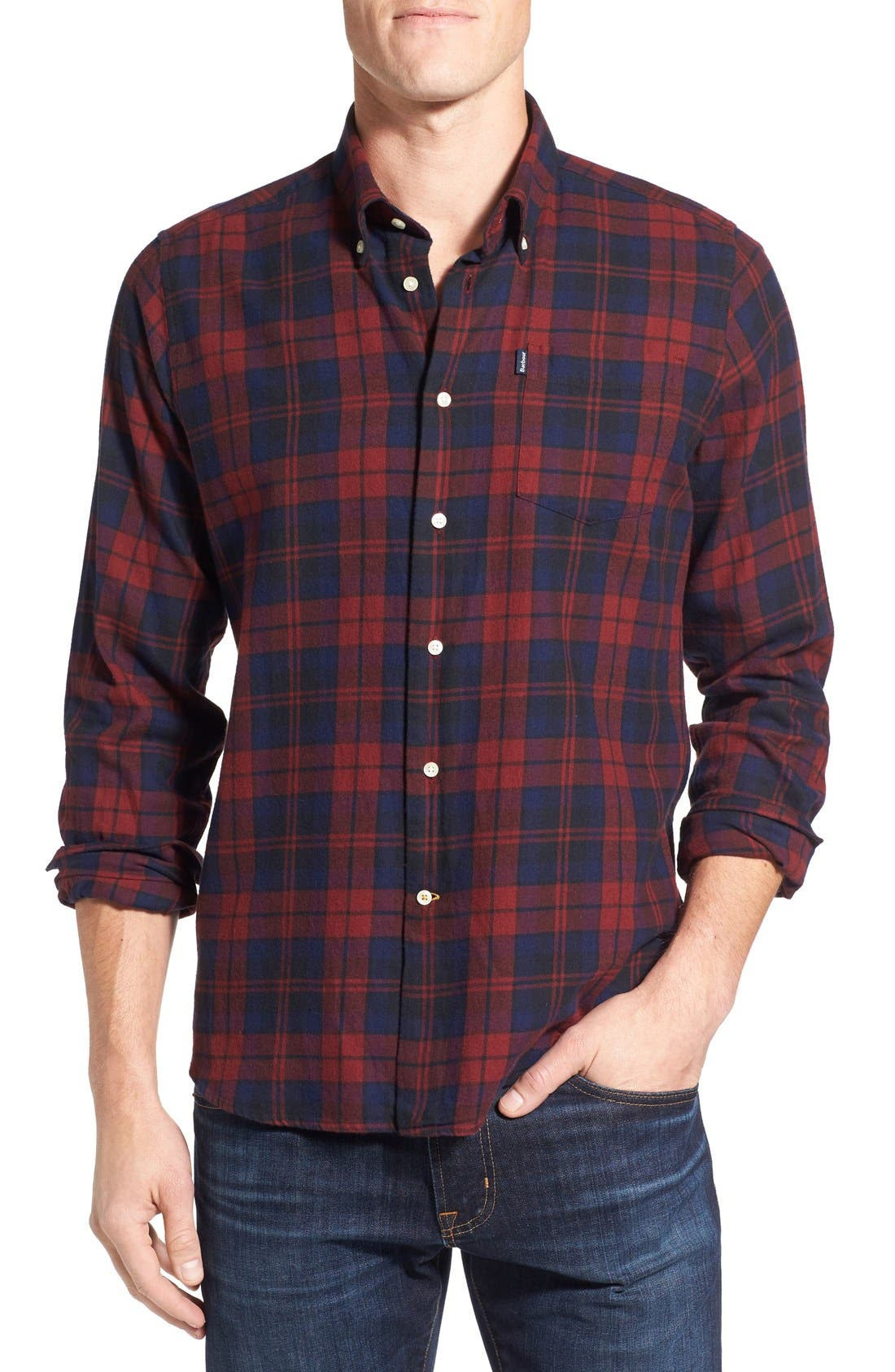 Seth Tailored Fit Plaid Sport Shirt,                             Main thumbnail 3, color,