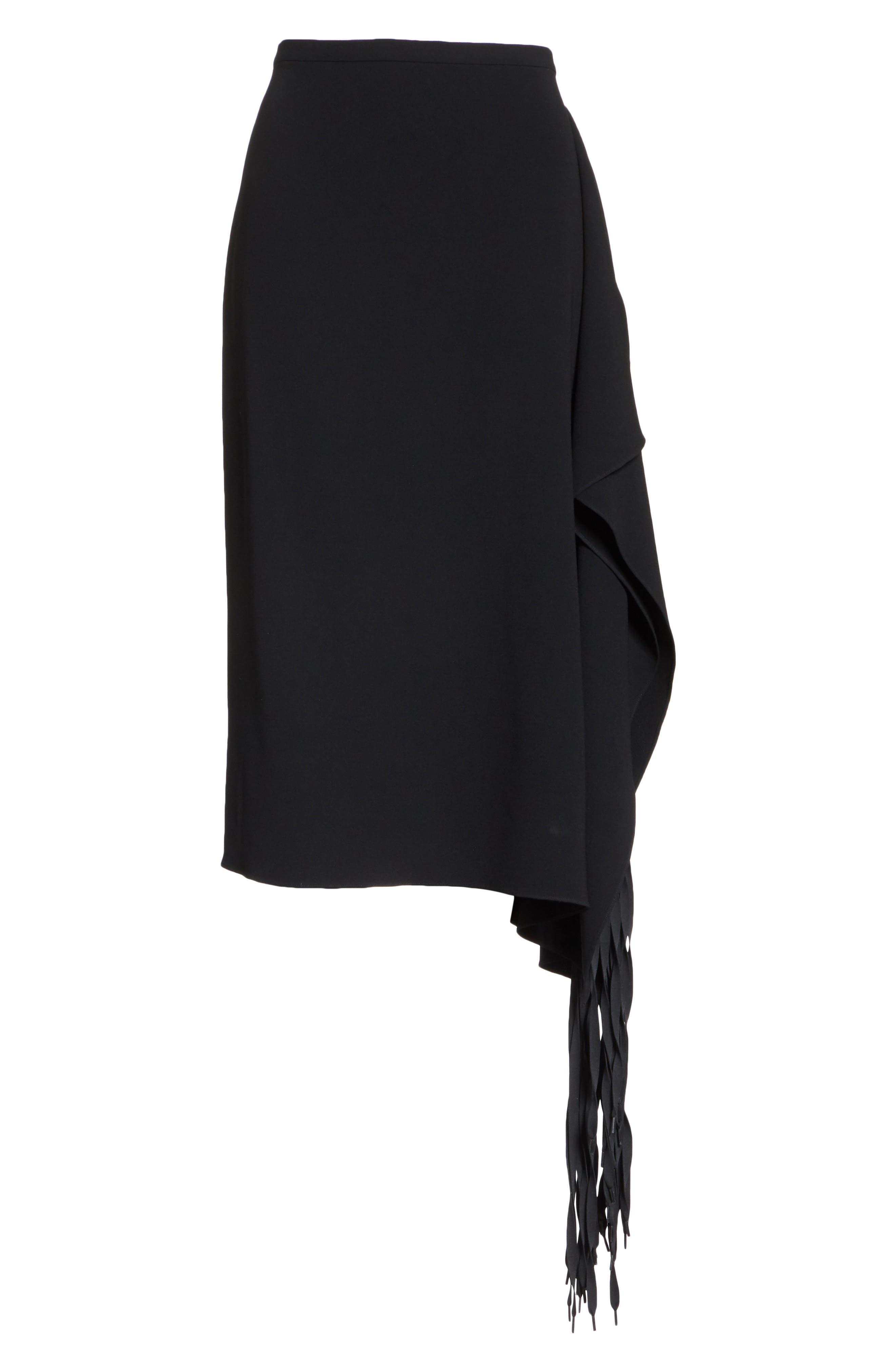 TIBI,                             Shoelace Fringe Skirt,                             Alternate thumbnail 6, color,                             BLACK