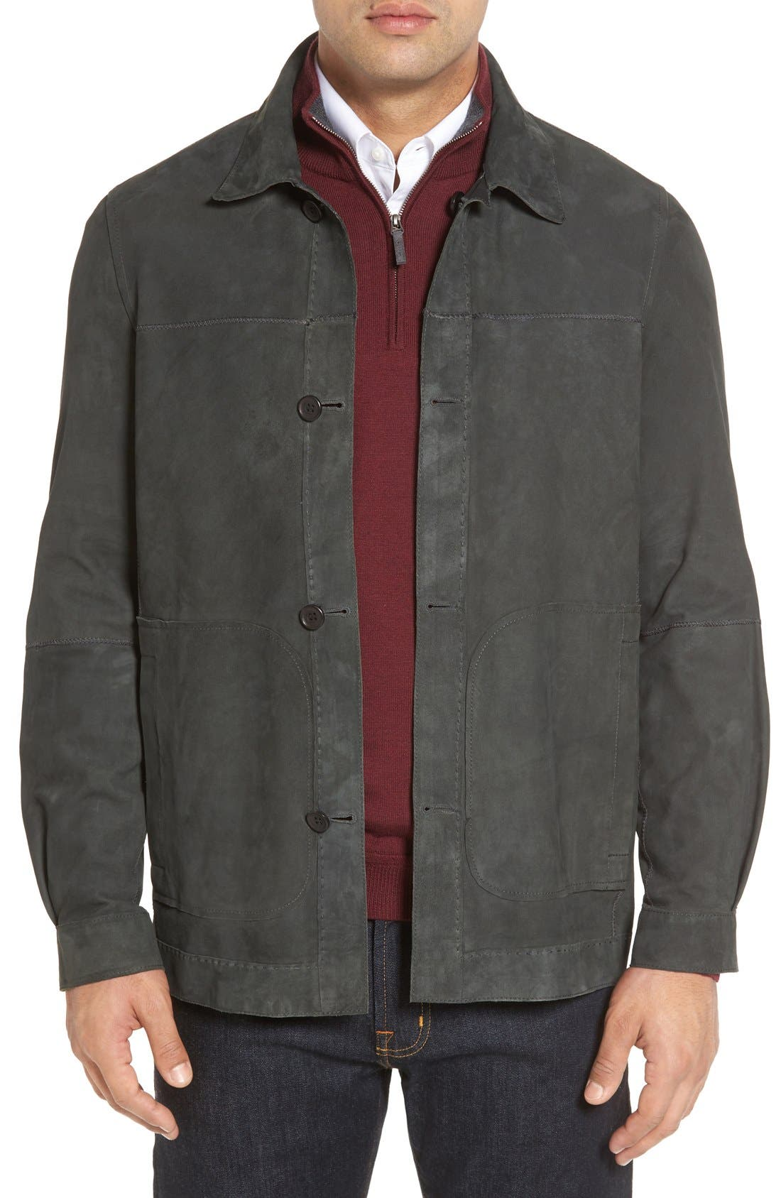 Vintage Lambskin Leather Reversible Jacket,                             Alternate thumbnail 4, color,                             001