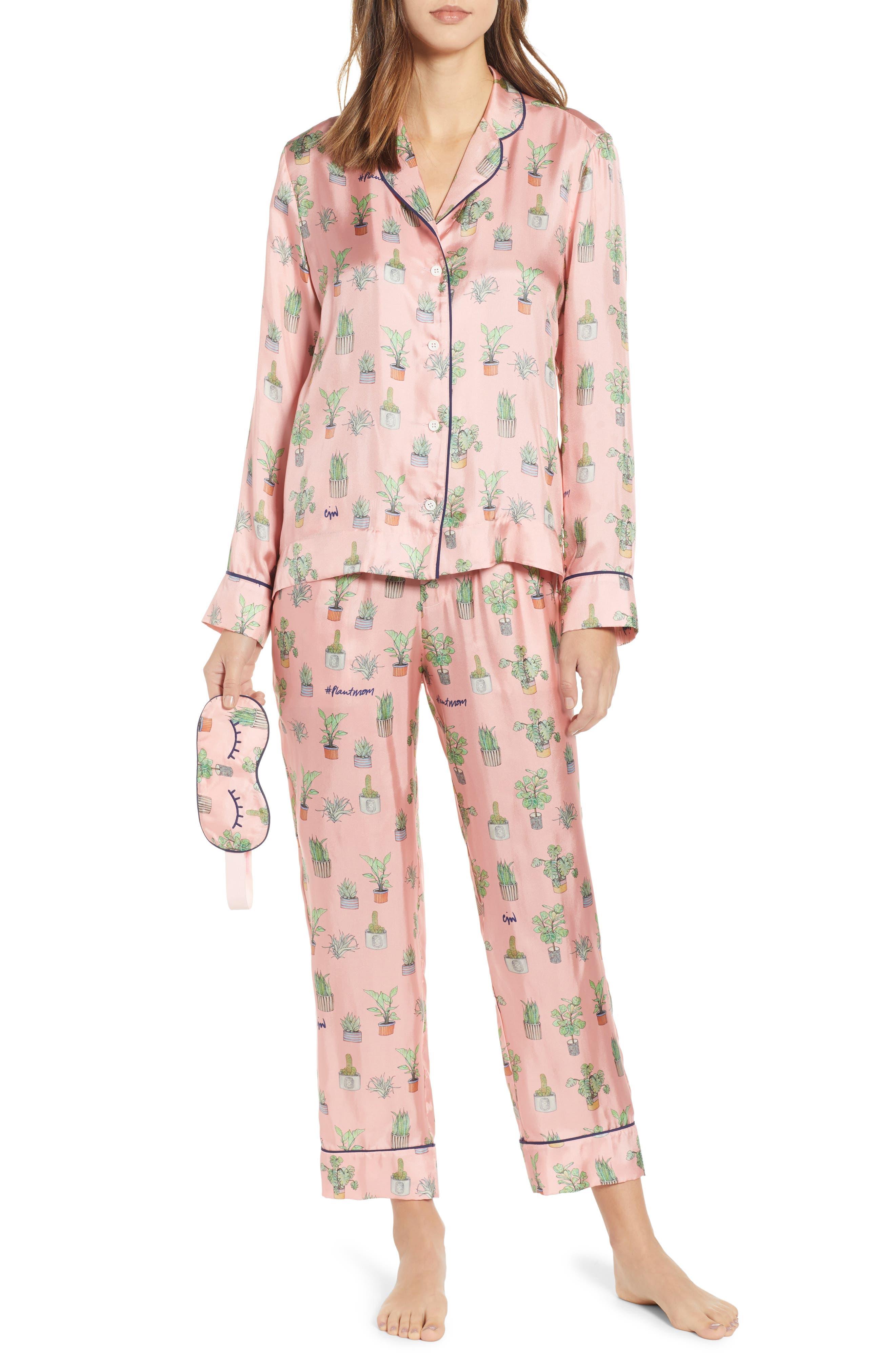 Plant Mom Silk Blend Pajamas & Eye Mask, Main, color, 650