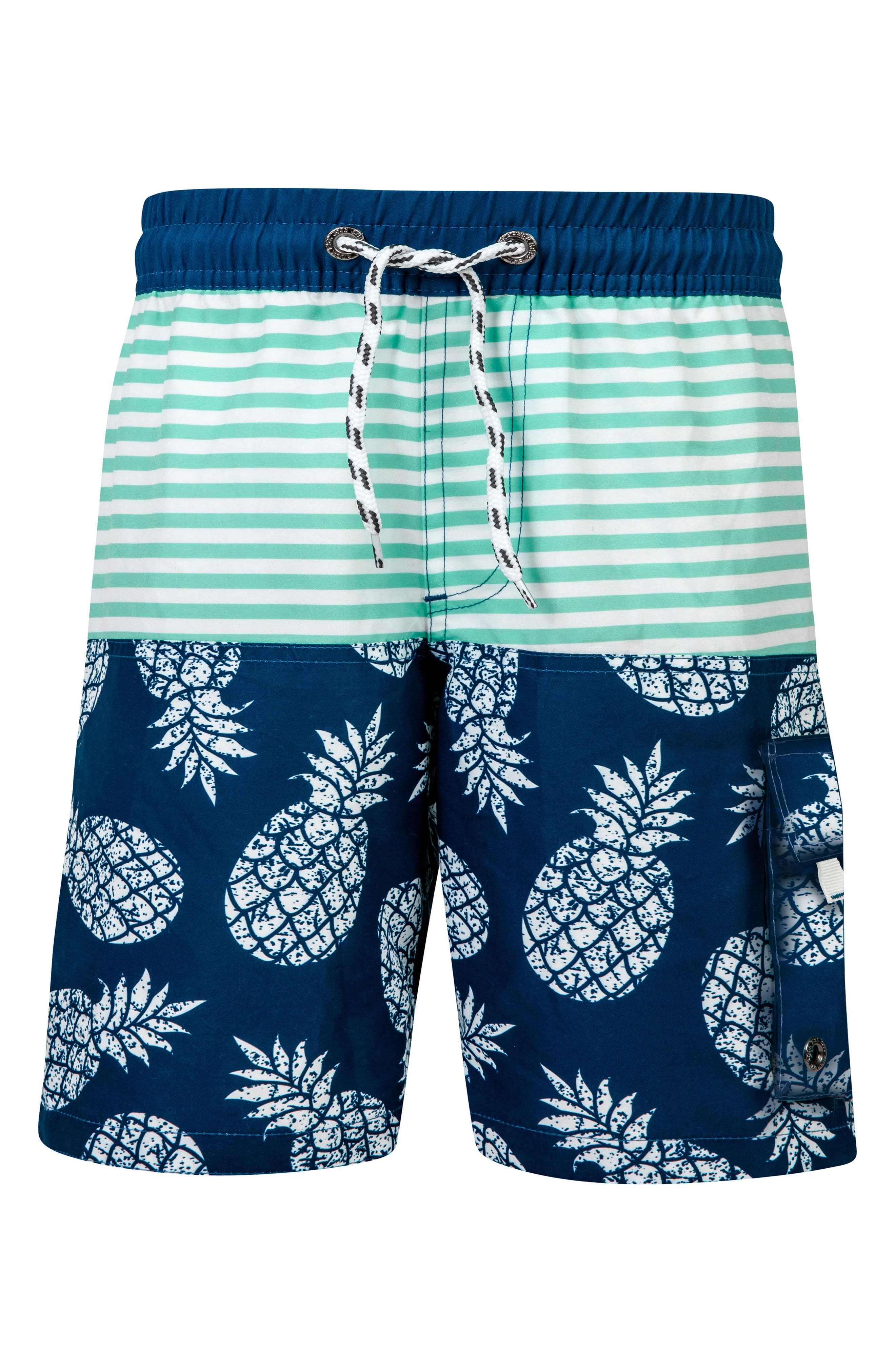 Pineapple Mint Stripe Board Shorts,                             Main thumbnail 1, color,                             DENIM/ MINT/ WHITE