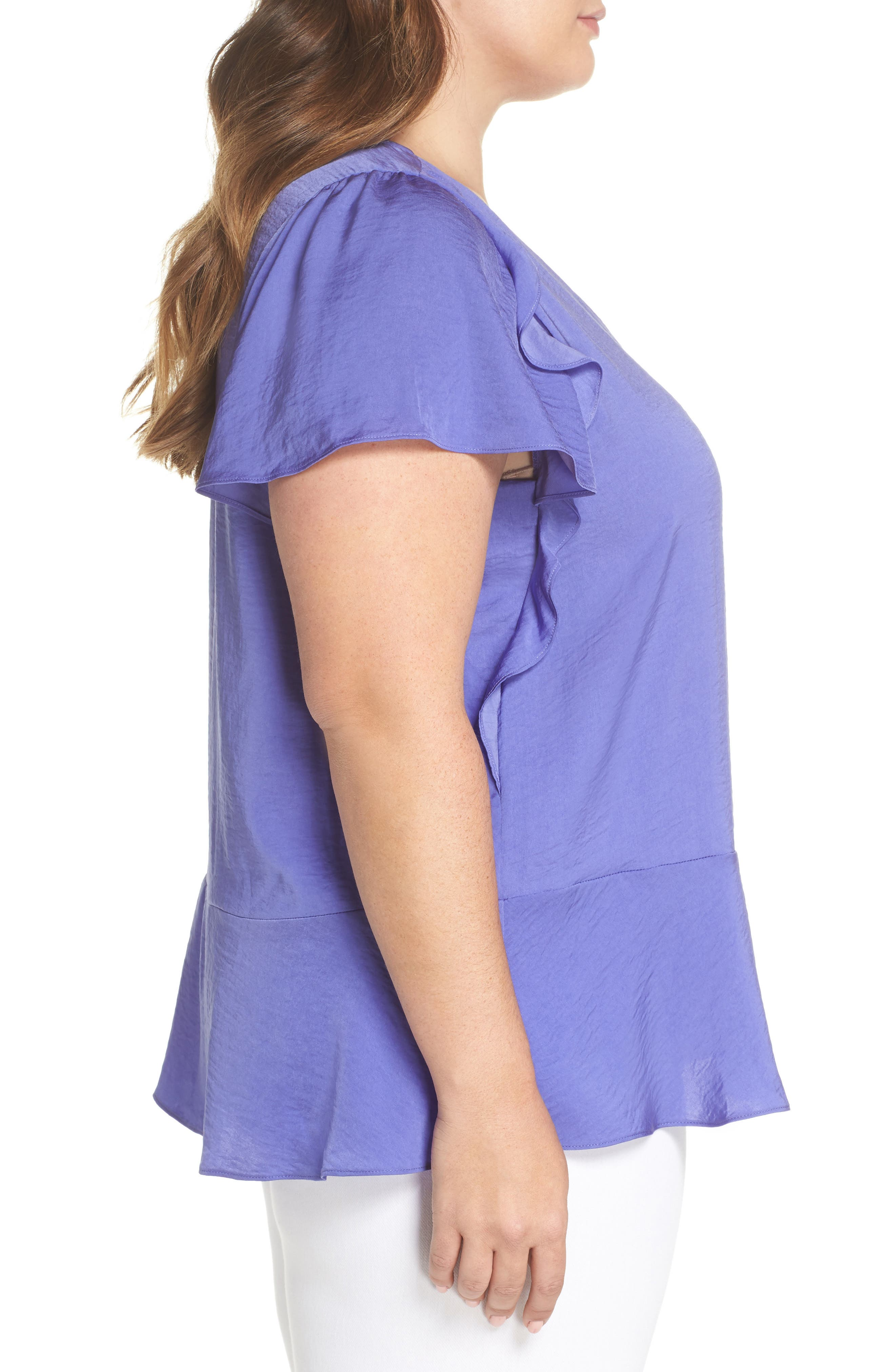 Double Ruffle Hammered Satin Top,                             Alternate thumbnail 3, color,
