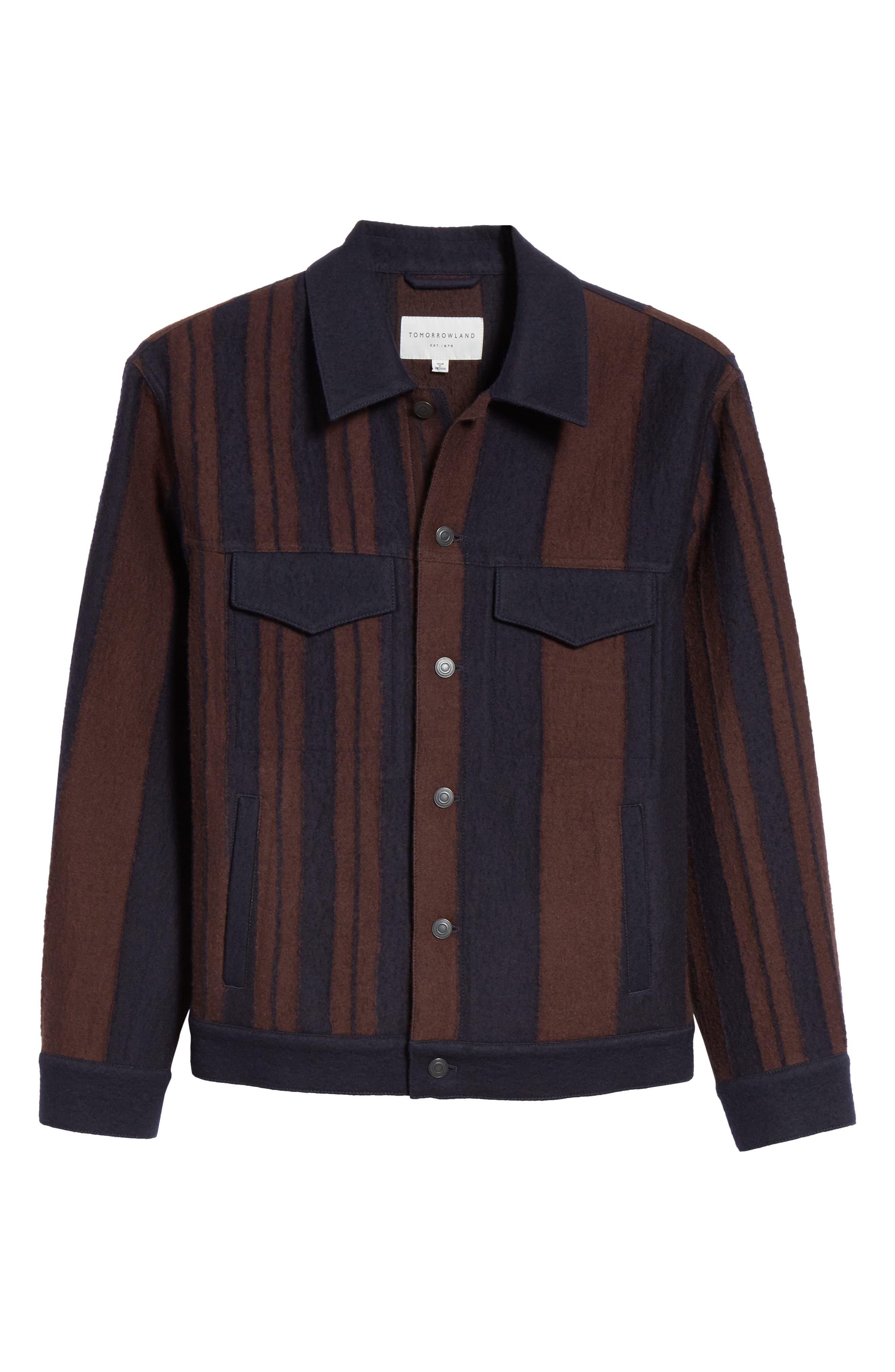 Stripe Wool Blend Jacket,                             Alternate thumbnail 5, color,                             001