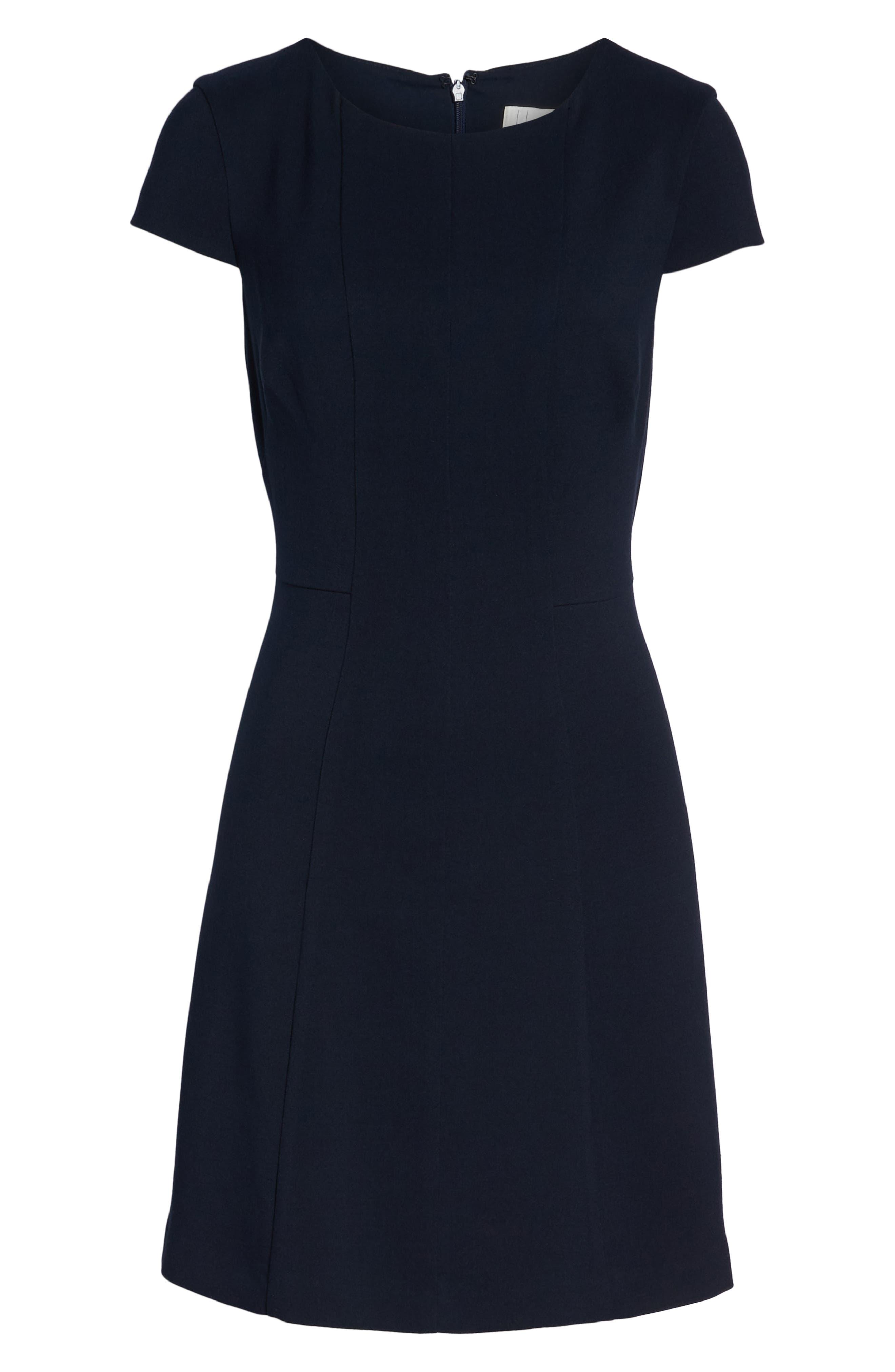 Cap Sleeve Fit & Flare Dress,                             Alternate thumbnail 7, color,                             NAVY
