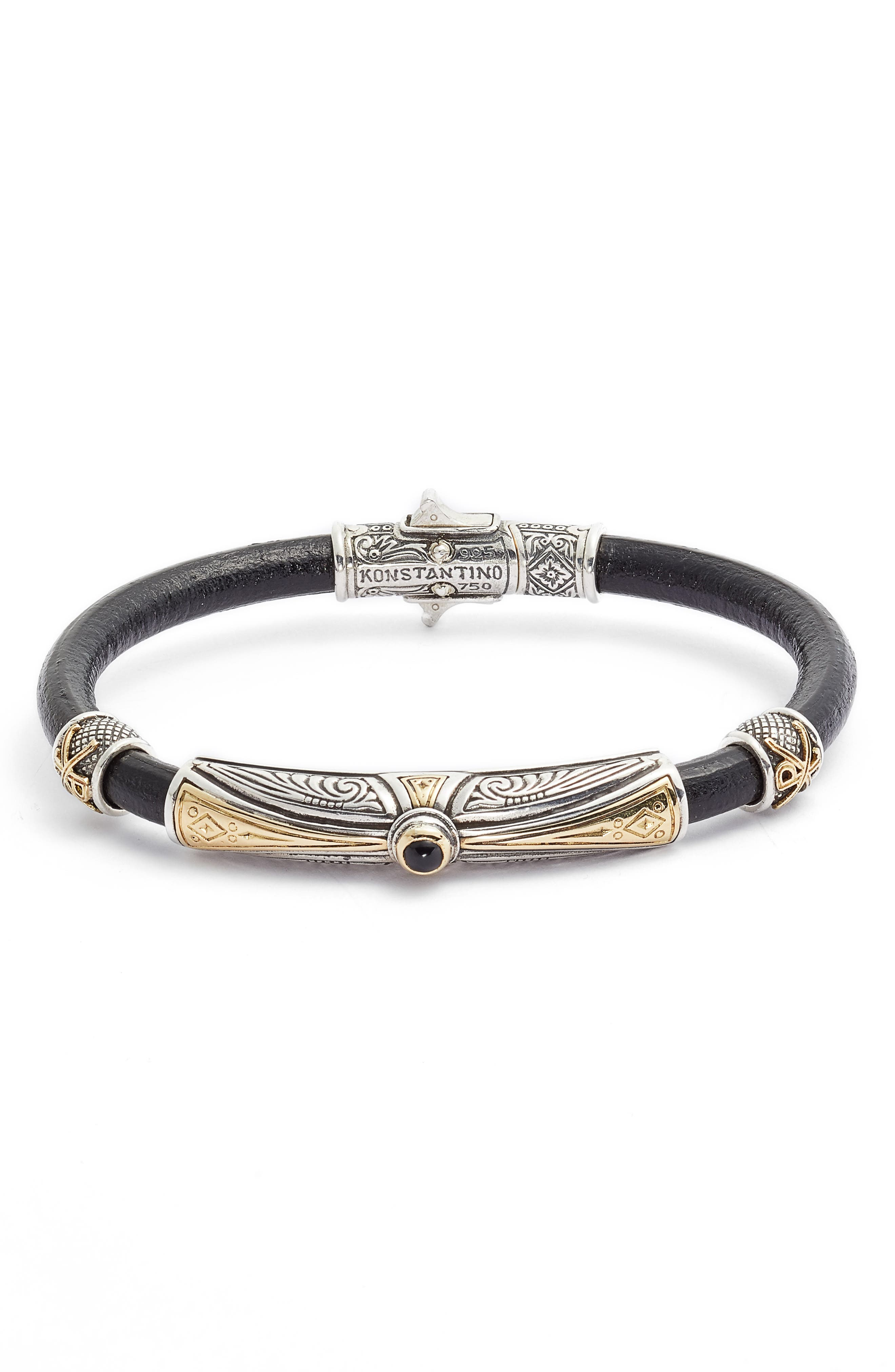 Stavros Leather Bracelet with Onyx,                         Main,                         color, SILVER/ GOLD