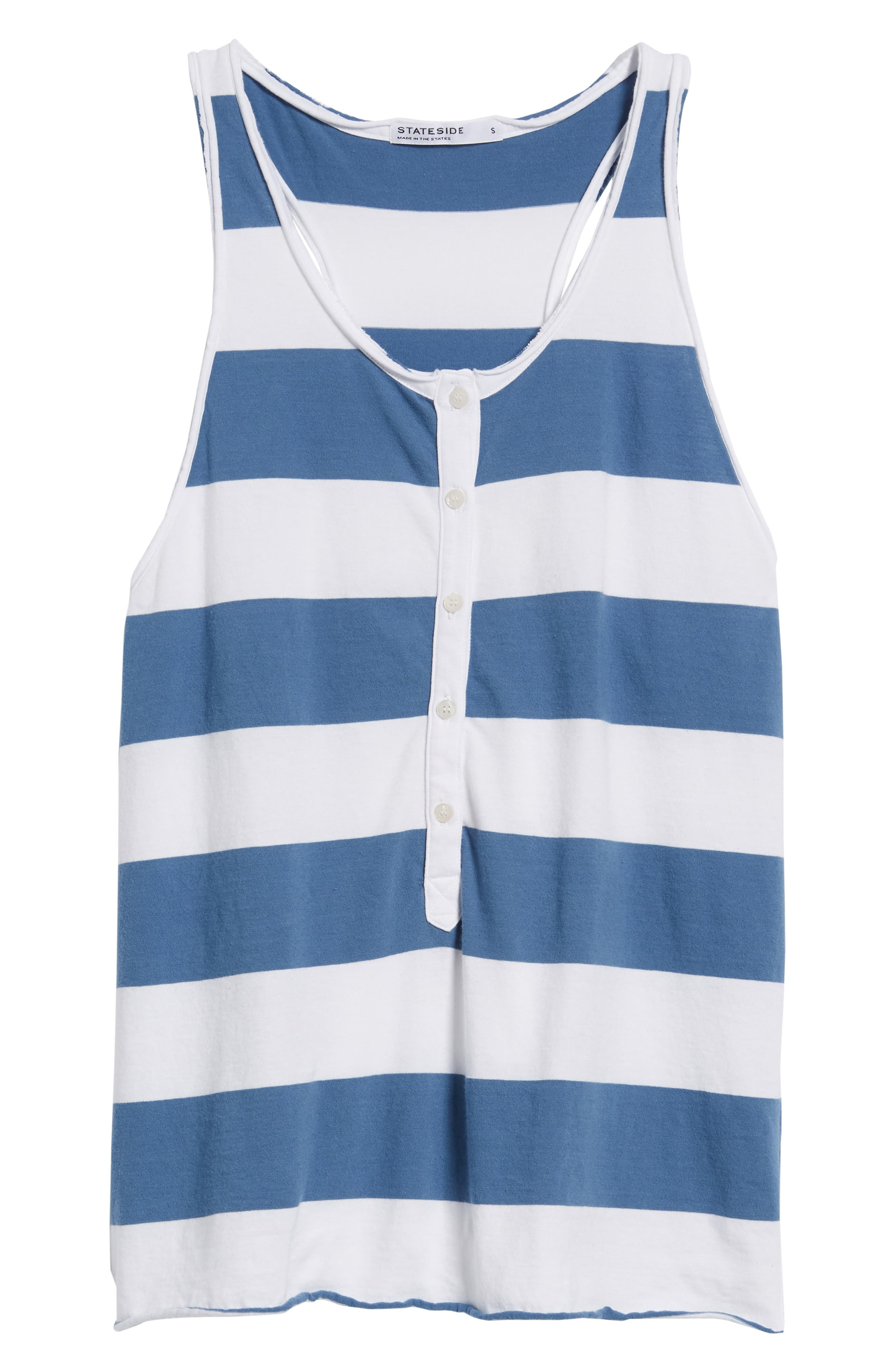 Rugby Stripe Tank,                             Alternate thumbnail 6, color,                             WHITE/ BLUE
